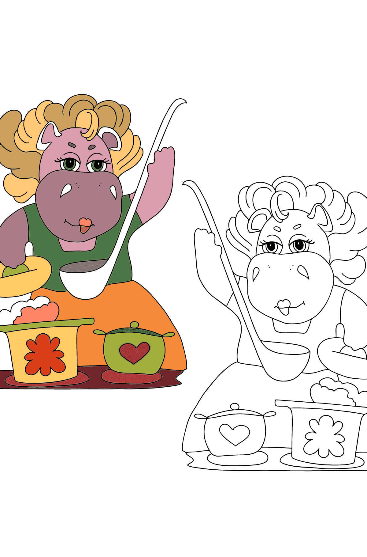 Coloring Page - Hippos are Cooking a Delicious Lunch for Children