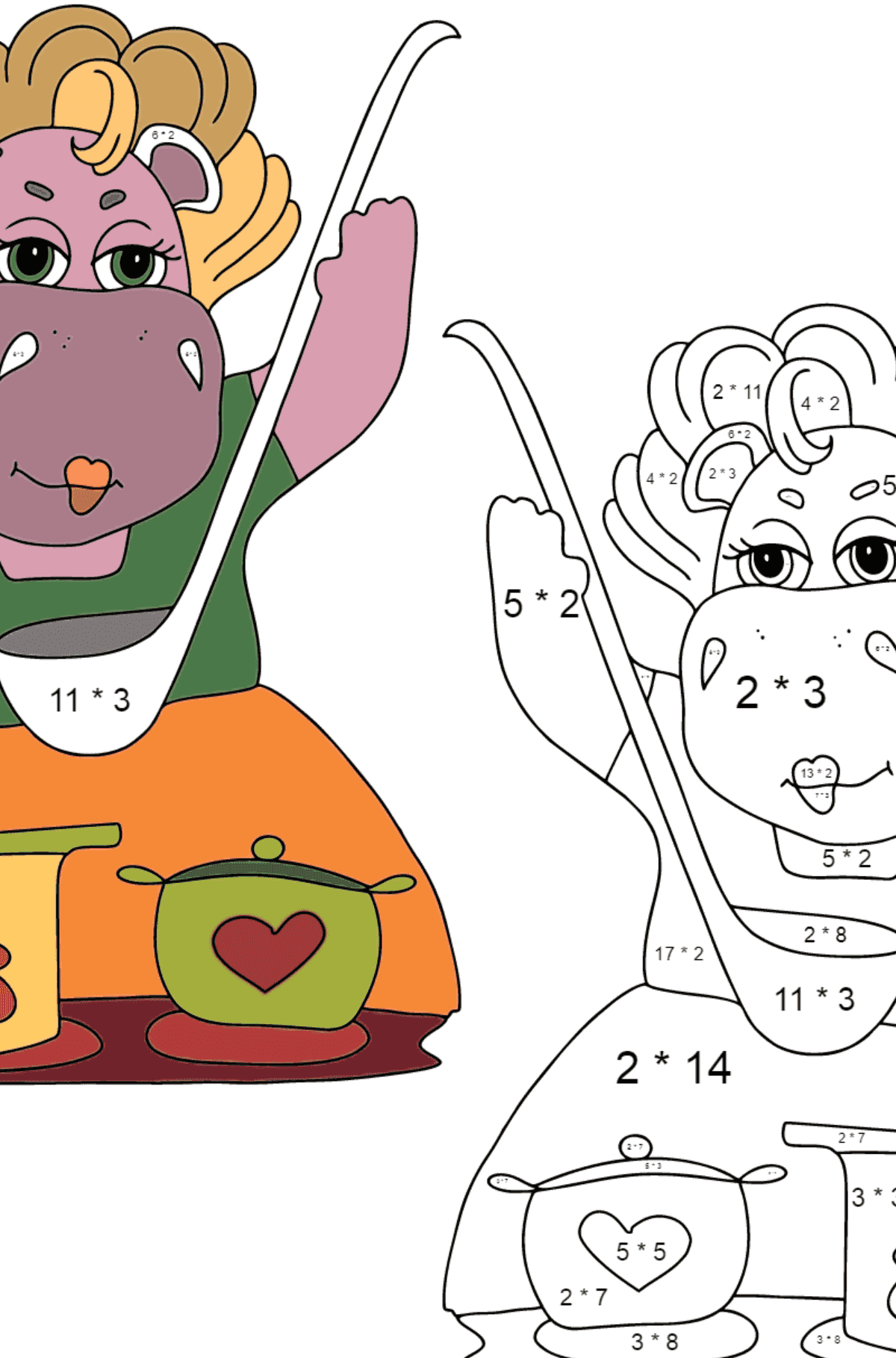 Coloring Page - Hippos are Cooking a Delicious Lunch for Children  - Color by Number Multiplication
