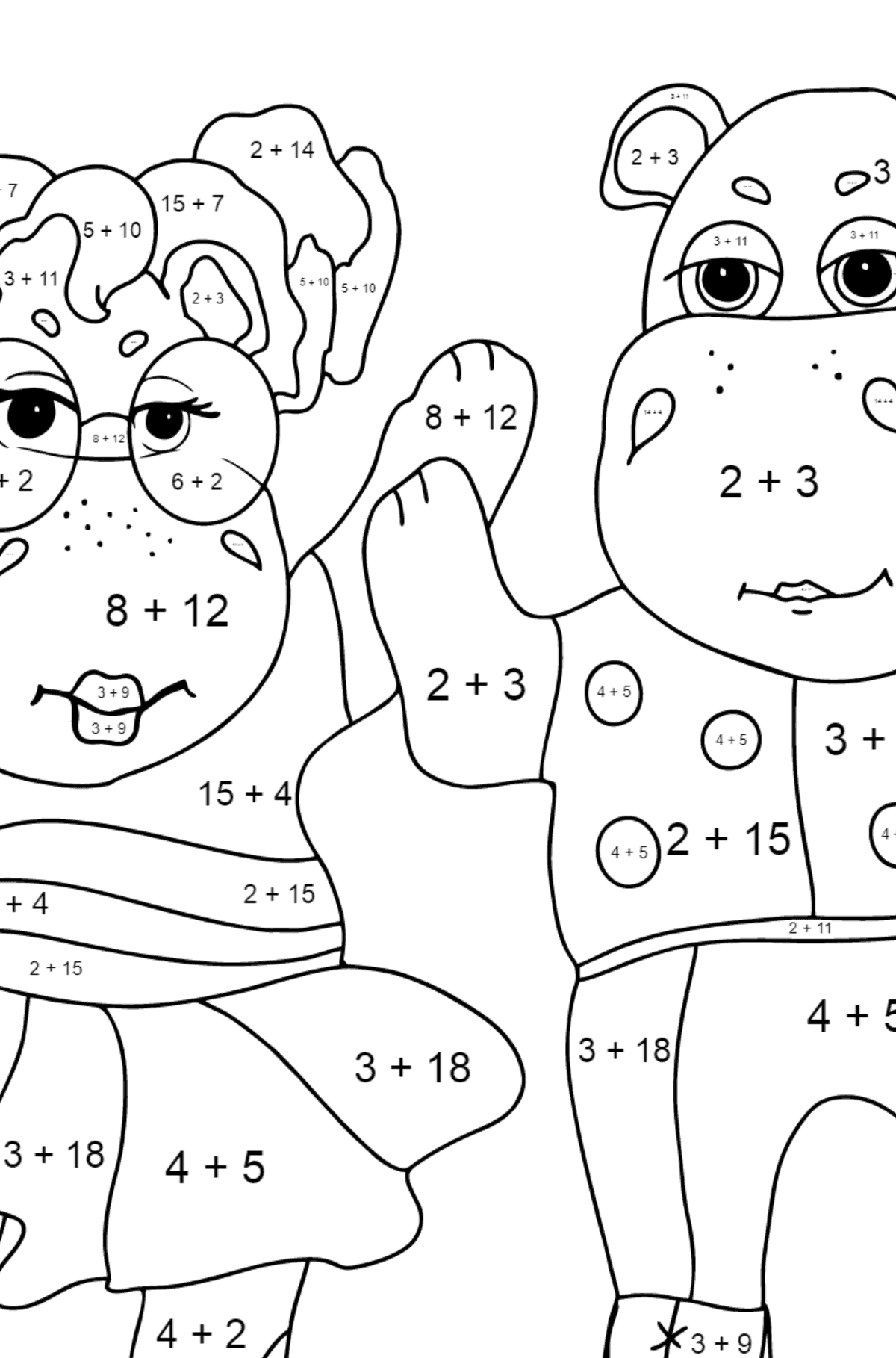 Coloring Page - Hippos are Dancing for Kids  - Color by Number Addition