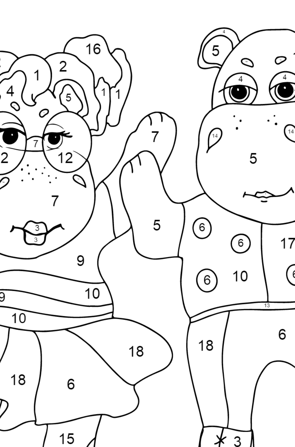 Coloring Page - Hippos are Dancing for Children  - Color by Number