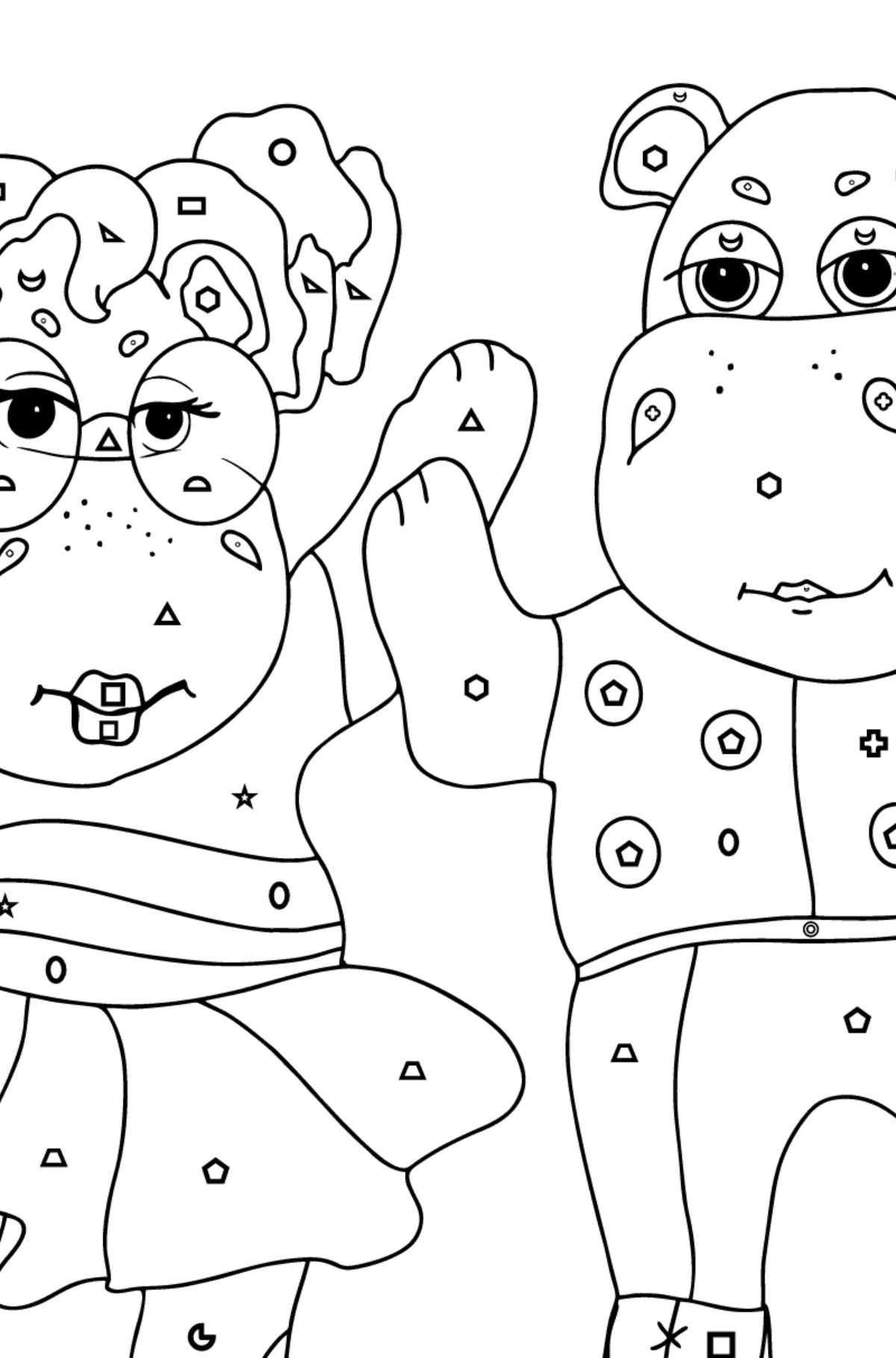 Online Ausmalbild Nilpferde Tanzen Spiele Mit Kindern