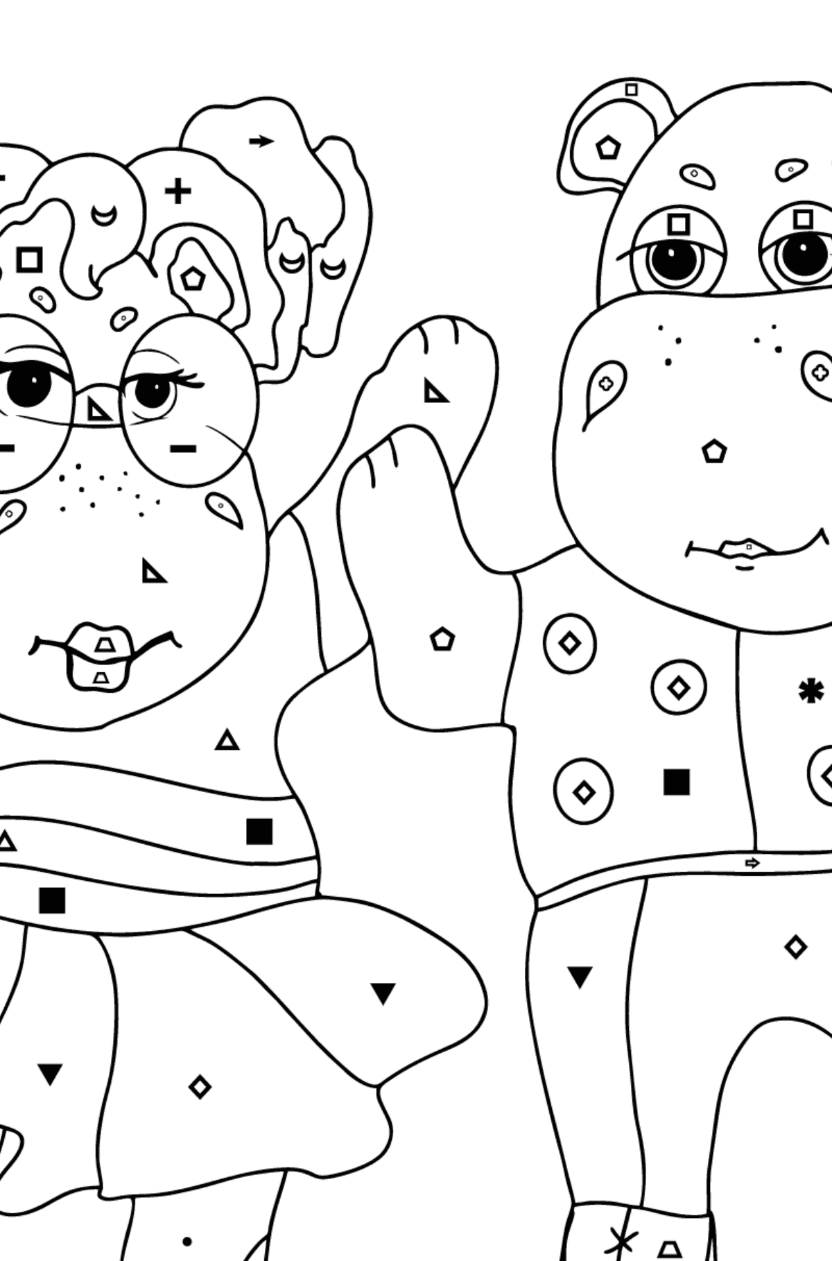 Coloring Page - Hippos are Dancing for Children  - Color by Symbols and Geometric Shapes
