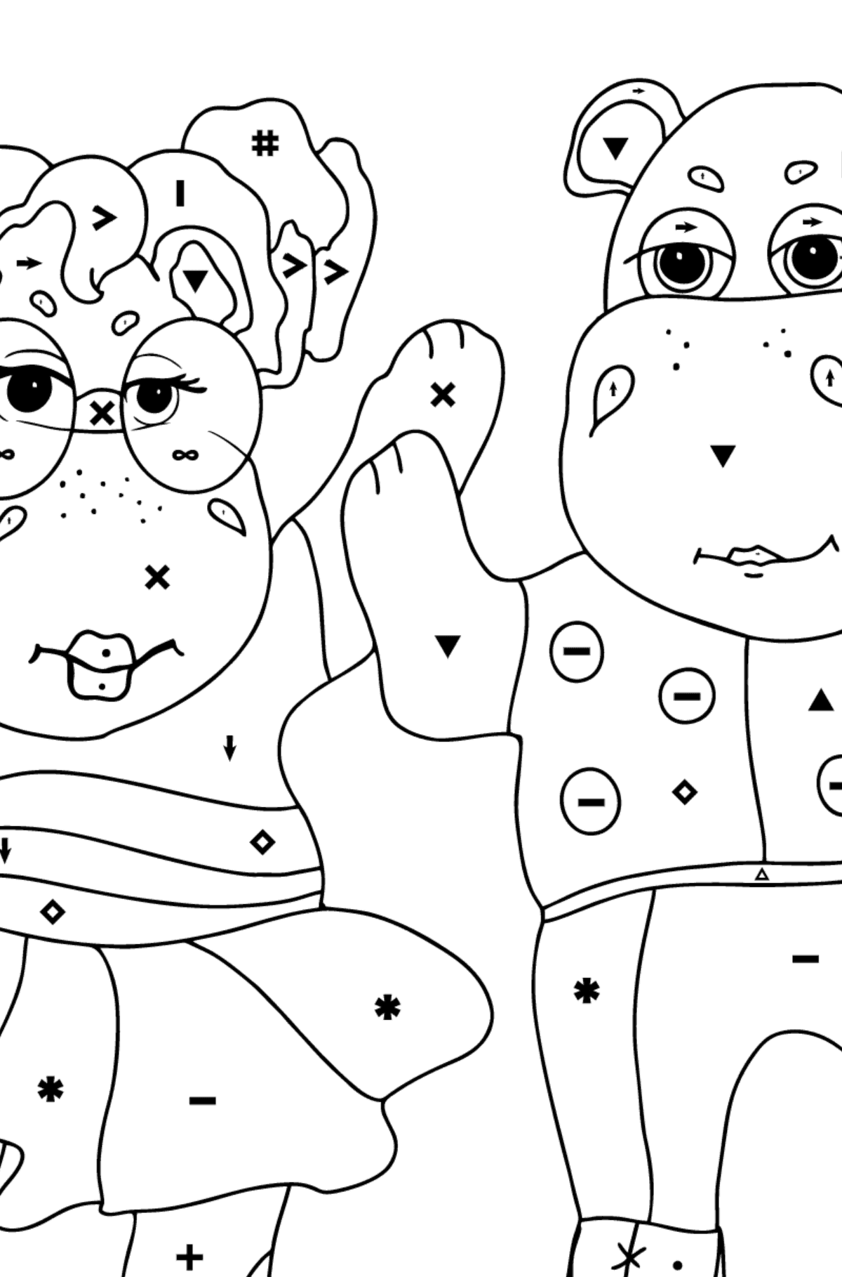 Coloring Page - Hippos are Dancing for Kids  - Color by Special Symbols
