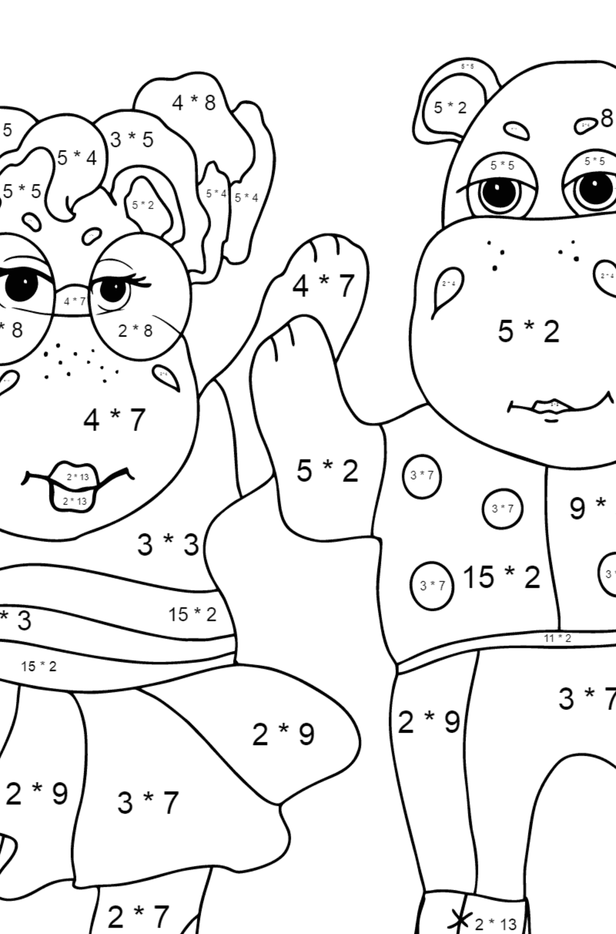 Coloring Page - Hippos are Dancing for Kids  - Color by Number Multiplication