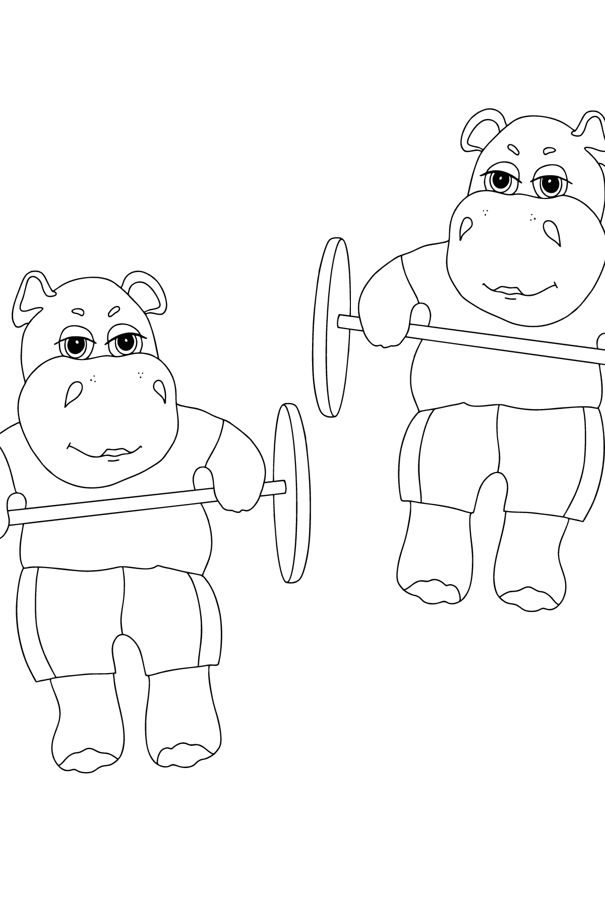 Coloring Page - Hippos are Exercising with a Barbell for Children