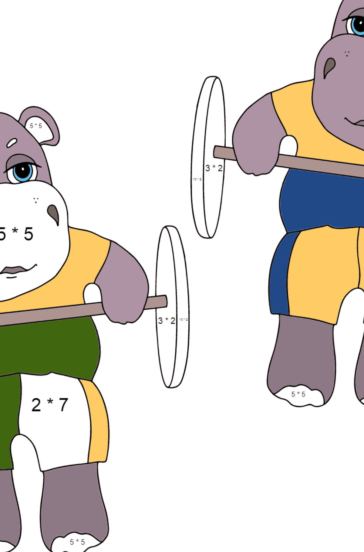 Coloring Page - Hippos are Exercising with a Barbell for Children  - Color by Number Multiplication