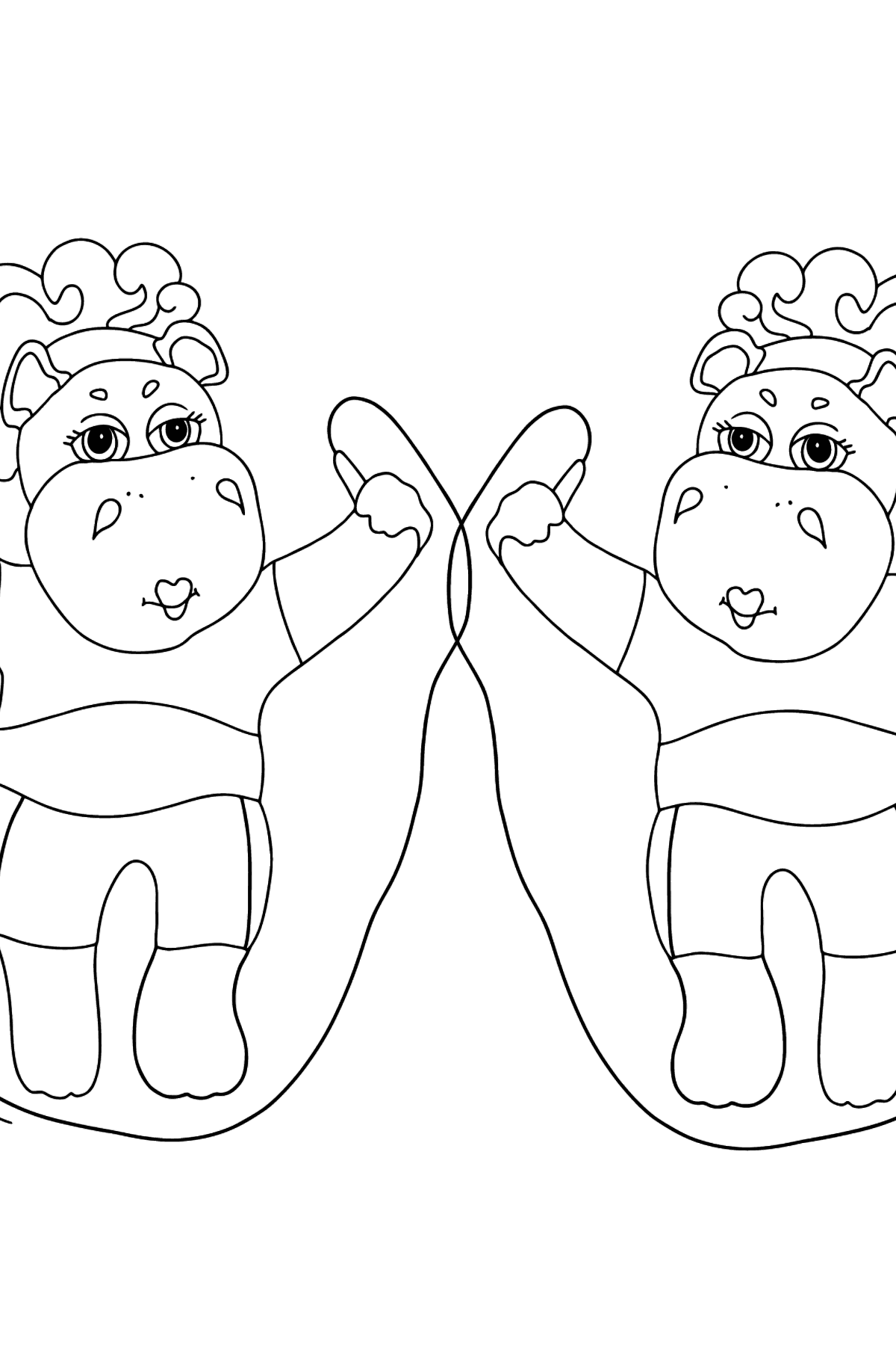 Coloring Page - Hippos are Exercising with Jump Ropes - Coloring Pages for Kids