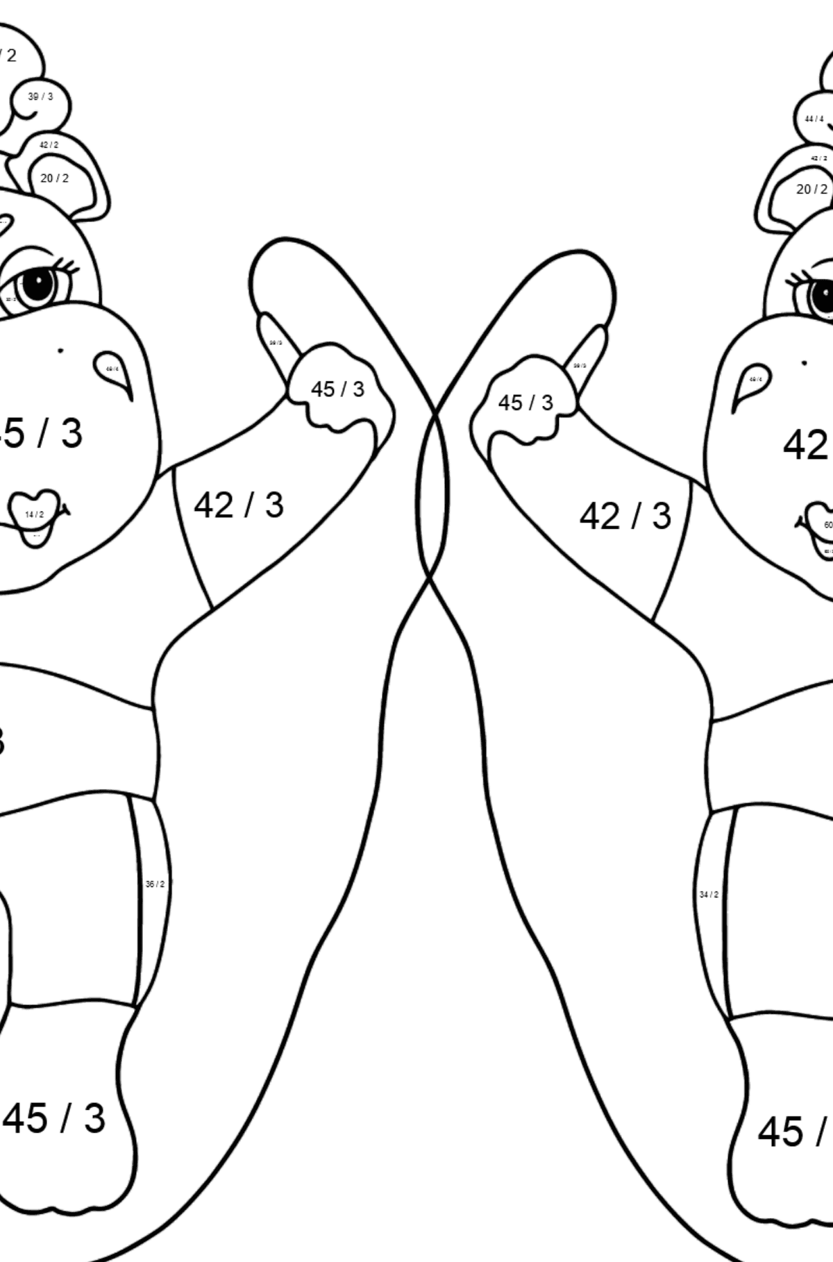 Coloring Page - Hippos are Exercising with Jump Ropes - Math Coloring - Division for Kids