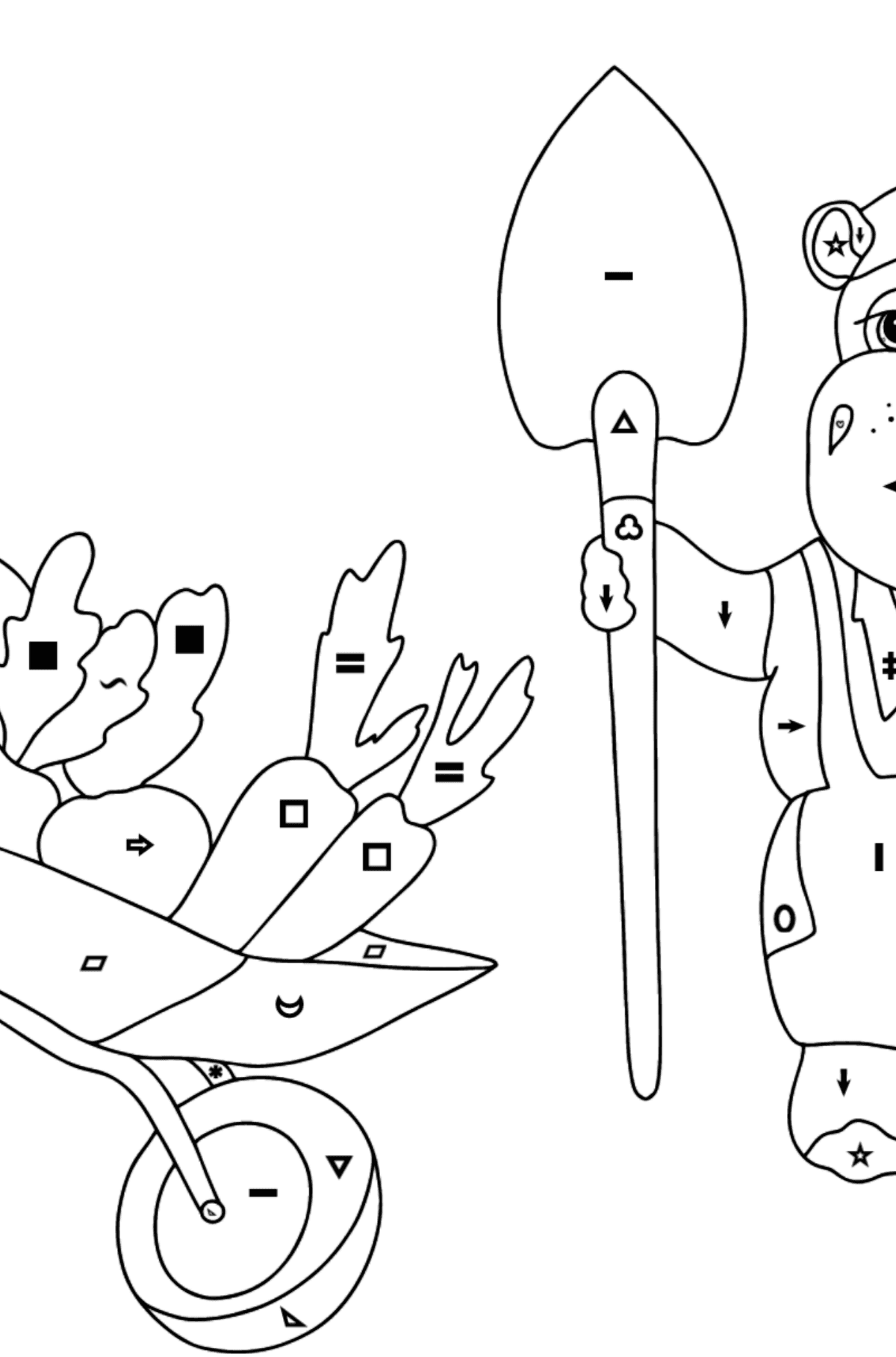 Coloring Page - Hippos are Harvesting a Big Crop - Coloring by Symbols and Geometric Shapes for Kids