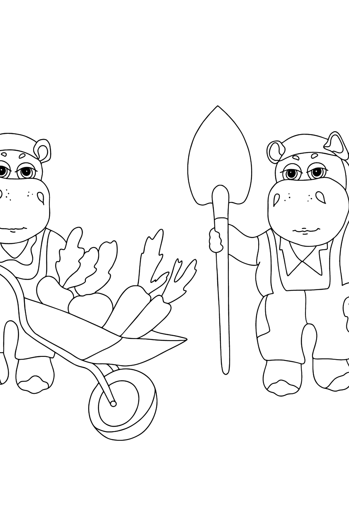Coloring Page - Hippos are Harvesting a Big Crop - Coloring Pages for Kids