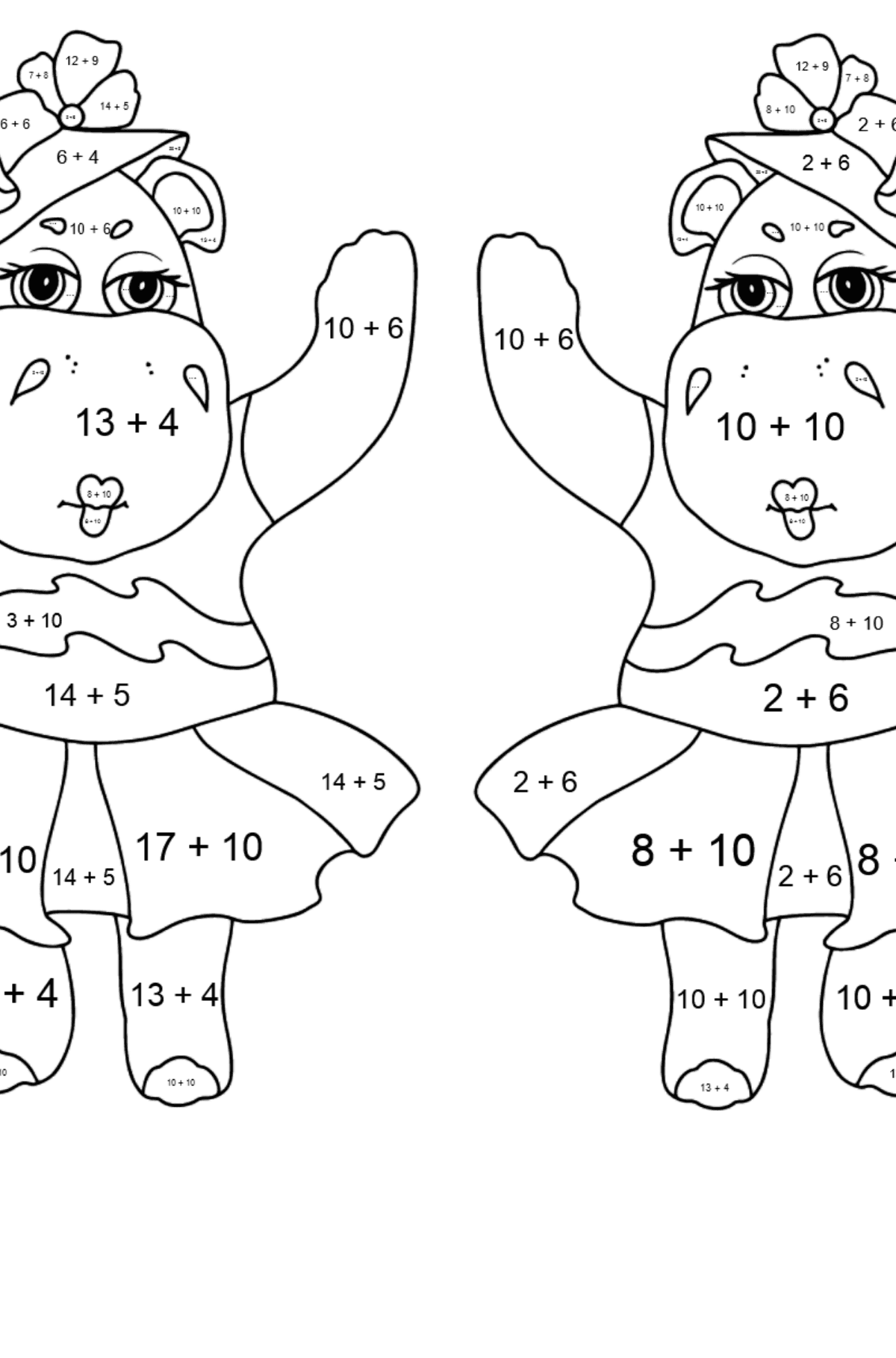 Coloring Page - Hippos are Harvesting the Crops - Math Coloring - Addition for Kids