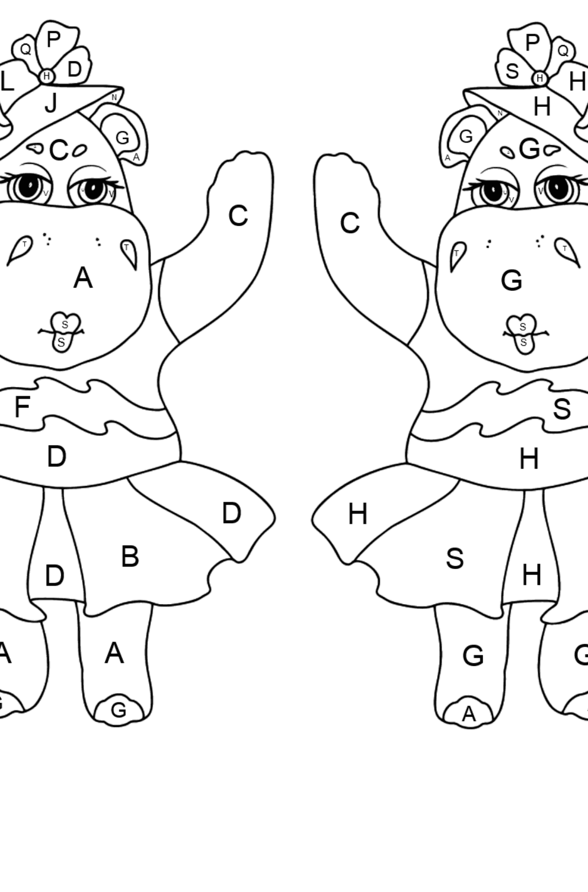 Coloring Page - Hippos are Harvesting the Crops - Coloring by Letters for Kids