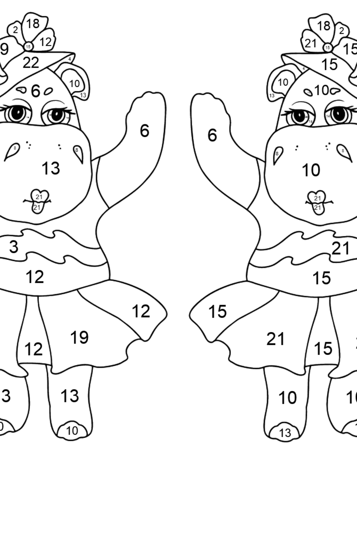 Coloring Page - Hippos are Harvesting the Crops - Coloring by Numbers for Kids