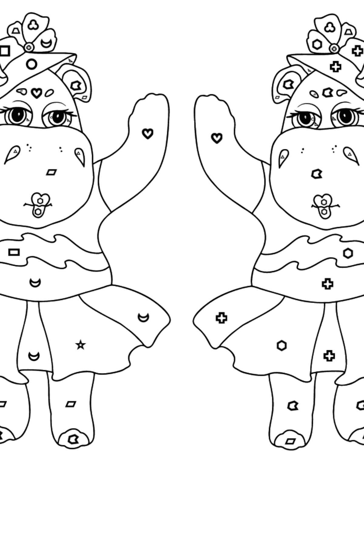 Coloring Page - Hippos are Harvesting the Crops - Coloring by Geometric Shapes for Kids