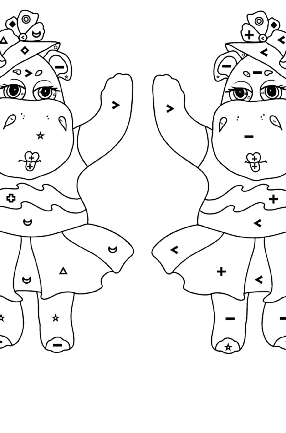 Coloring Page - Hippos are Harvesting the Crops - Coloring by Symbols and Geometric Shapes for Kids