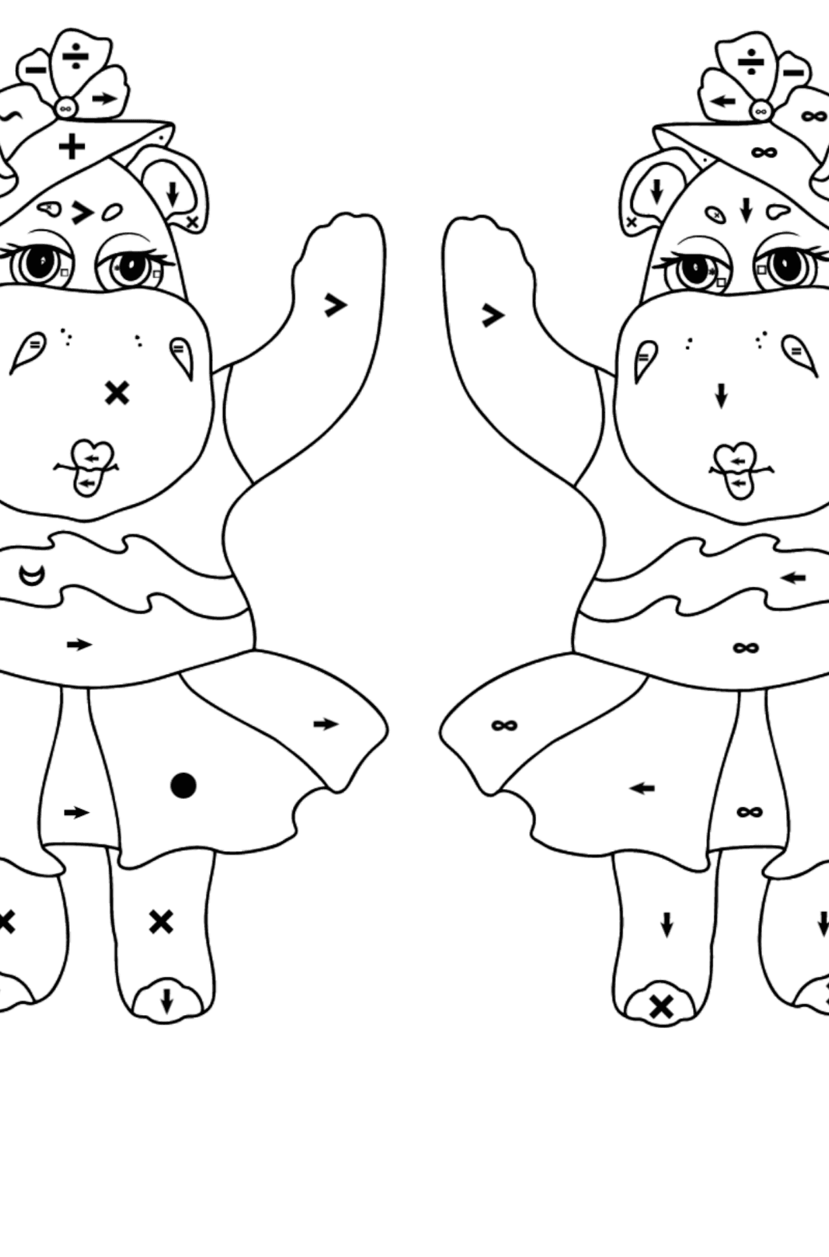 Coloring Page - Hippos are Harvesting the Crops - Coloring by Symbols for Kids