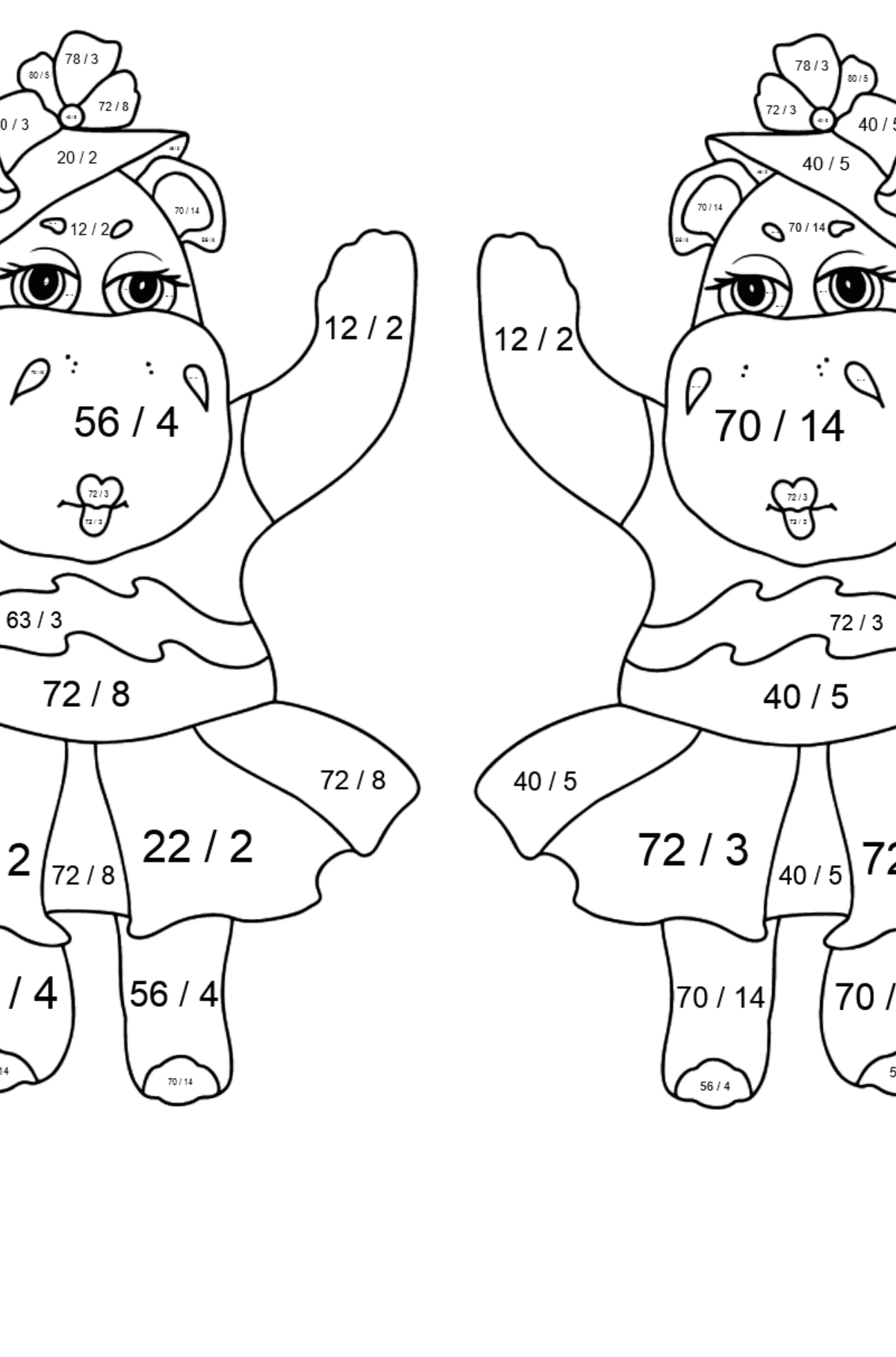 Coloring Page - Hippos are Harvesting the Crops - Math Coloring - Division for Kids