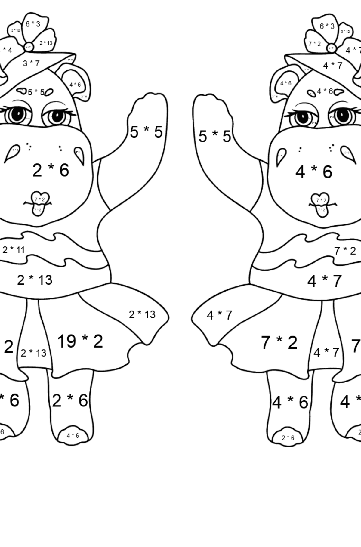 Coloring Page - Hippos are Harvesting the Crops - Math Coloring - Multiplication for Kids