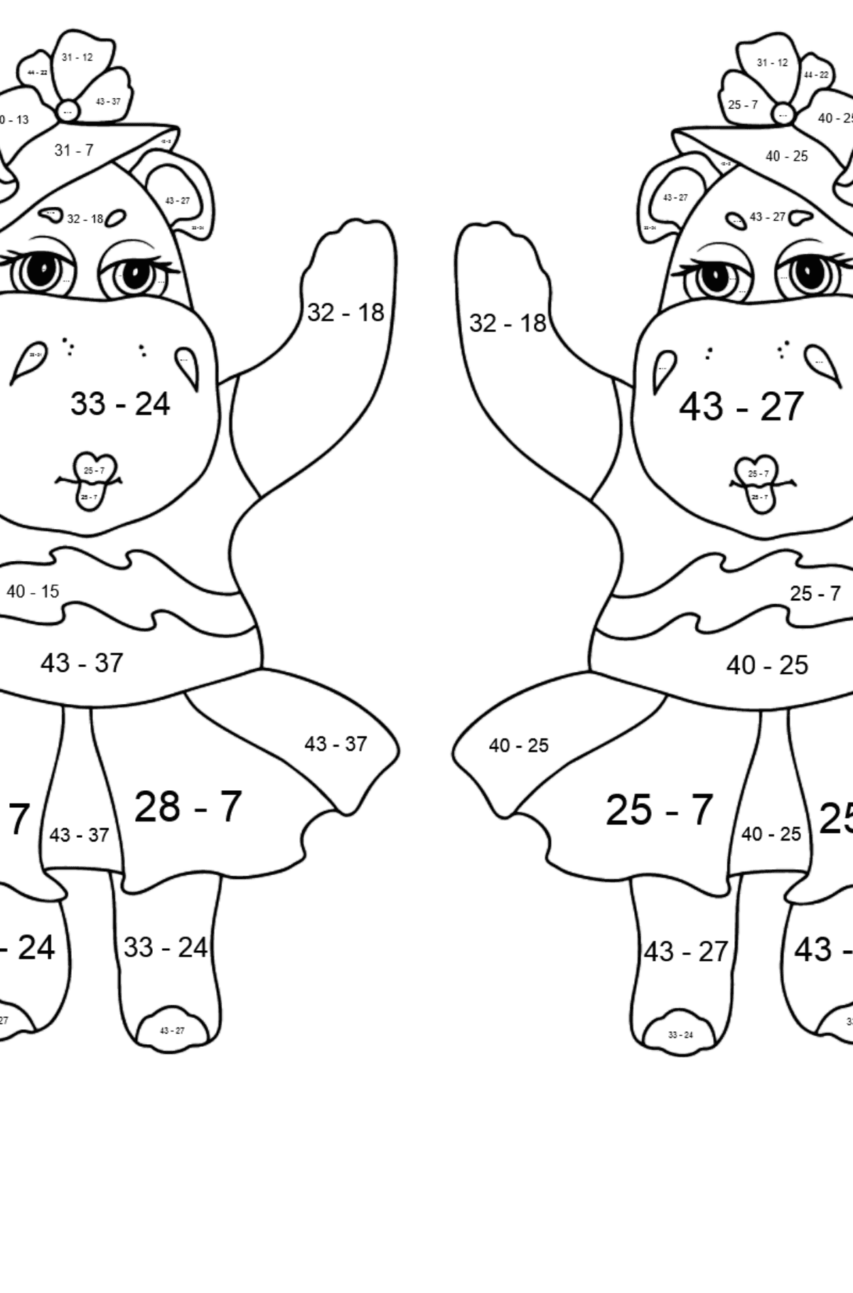 Coloring Page - Hippos are Harvesting the Crops - Math Coloring - Subtraction for Kids