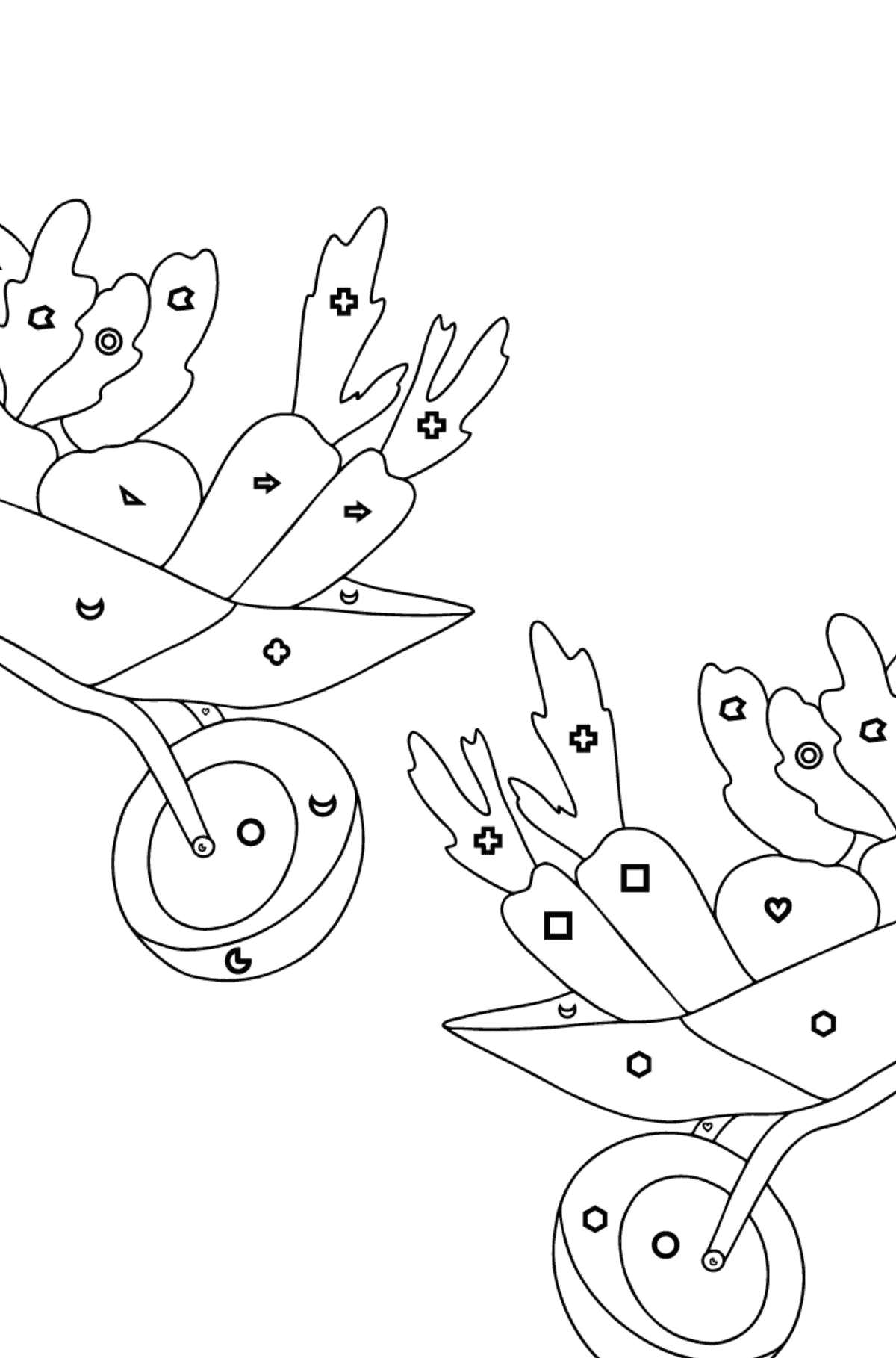 Coloring Page - Hippos in a Garden with Carts for Kids  - Color by Geometric Shapes