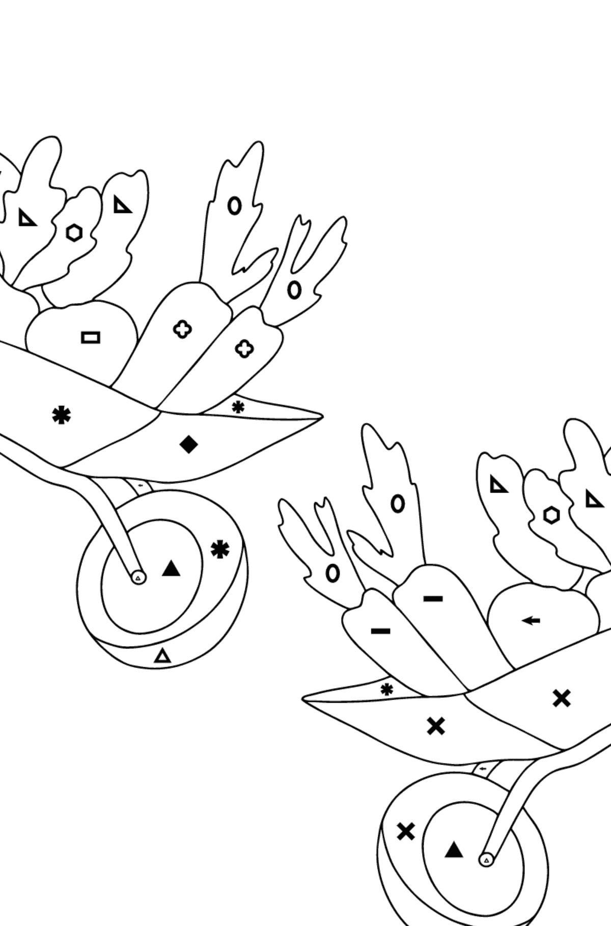 Coloring Page - Hippos in a Garden with Carts for Kids  - Color by Symbols and Geometric Shapes