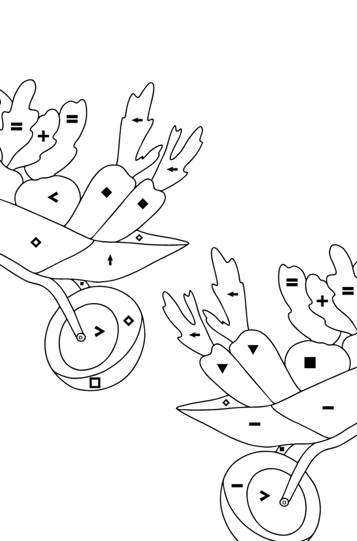 Coloring Page - Hippos in a Garden with Carts for Children  - Color by Special Symbols