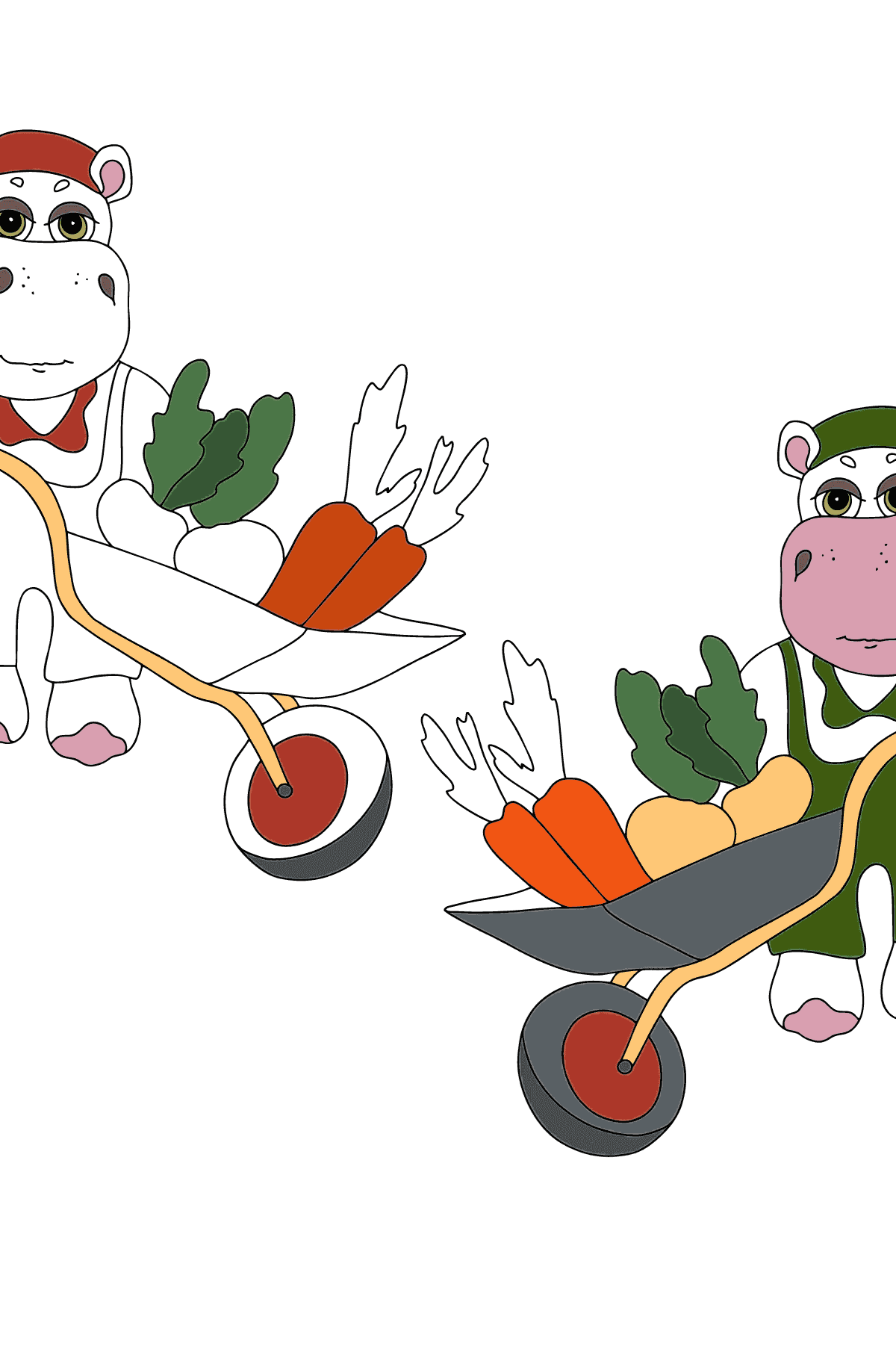 Coloring Page - Hippos in a Garden with Carts for Children