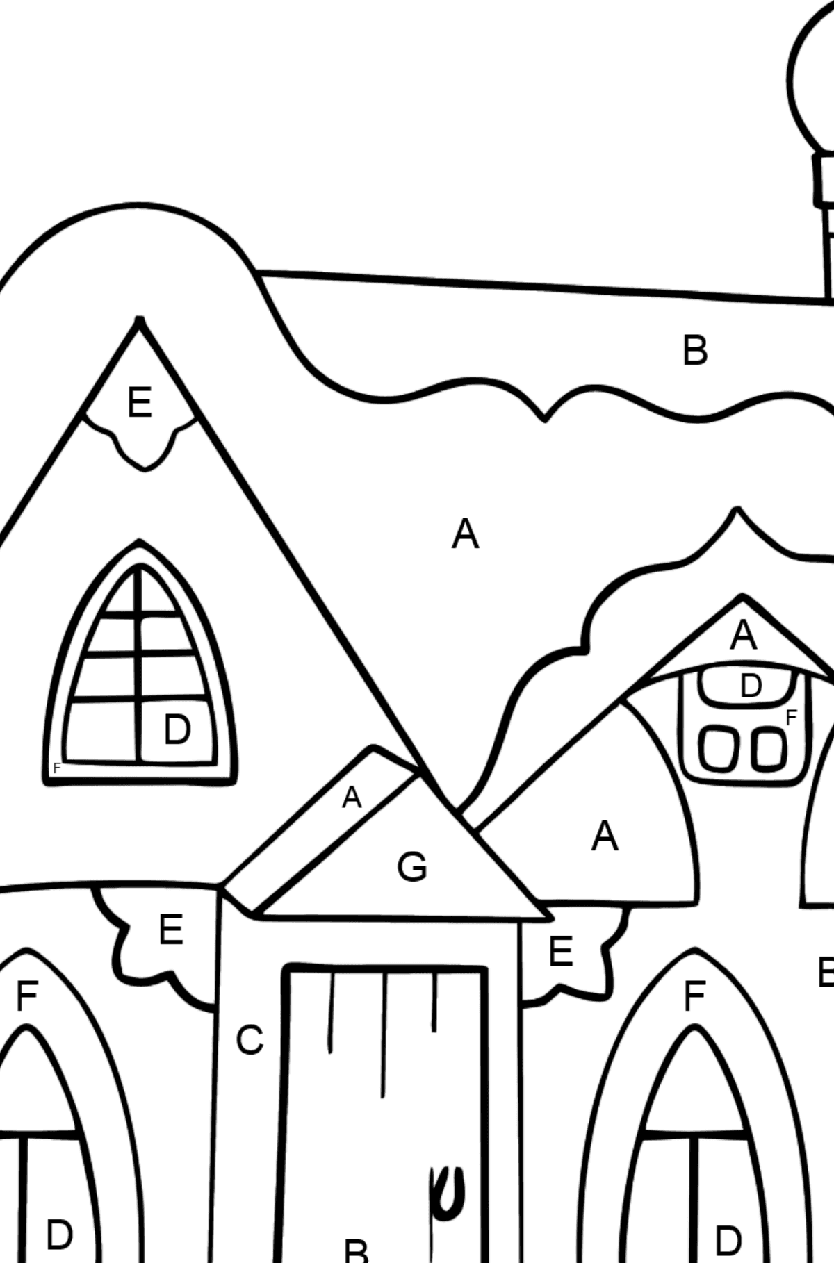 Coloring Page - A Fairytale House - Coloring by Letters for Kids