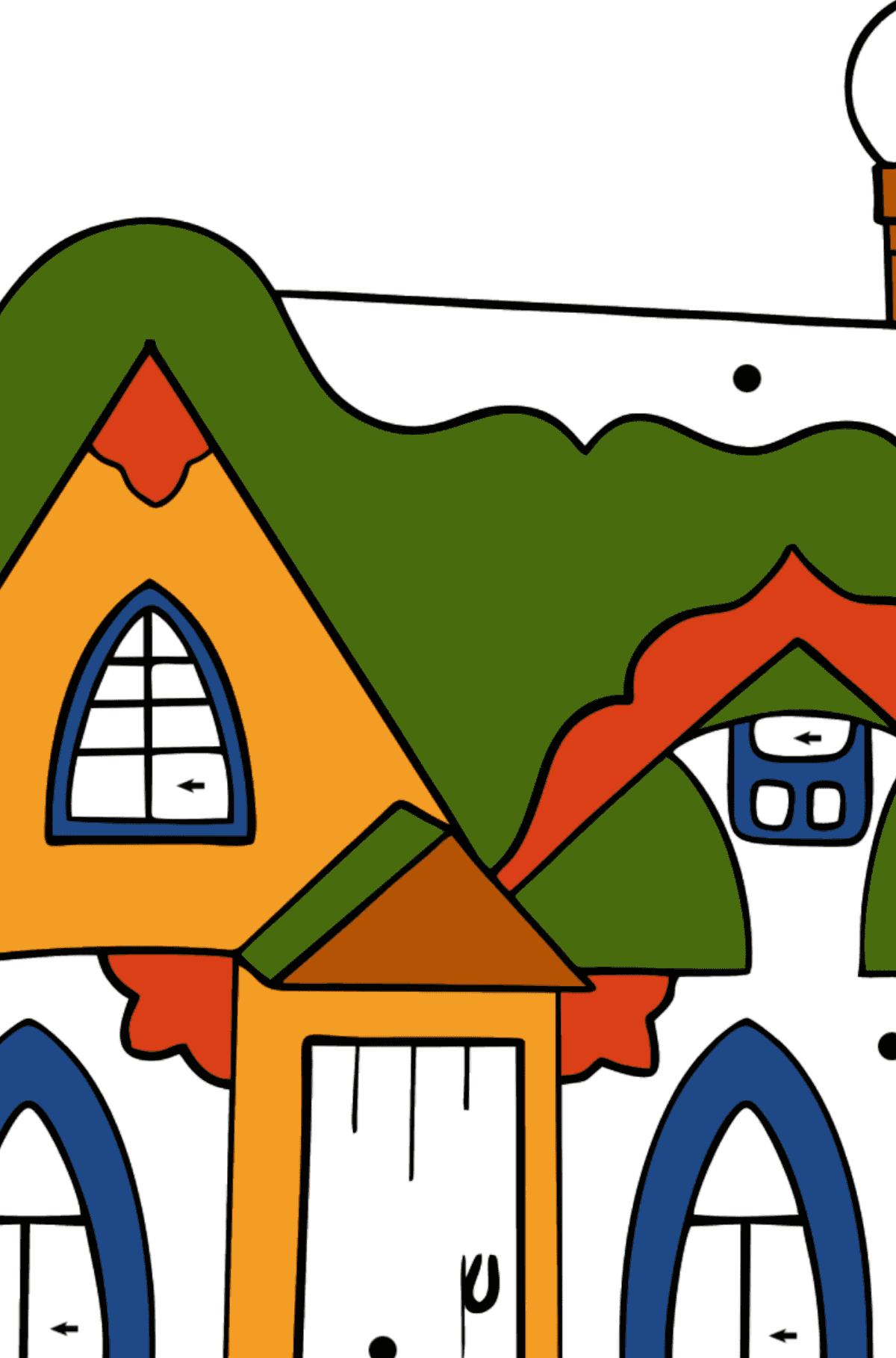 Раскраска сказочный домик - Раскраска по Символам для Детей