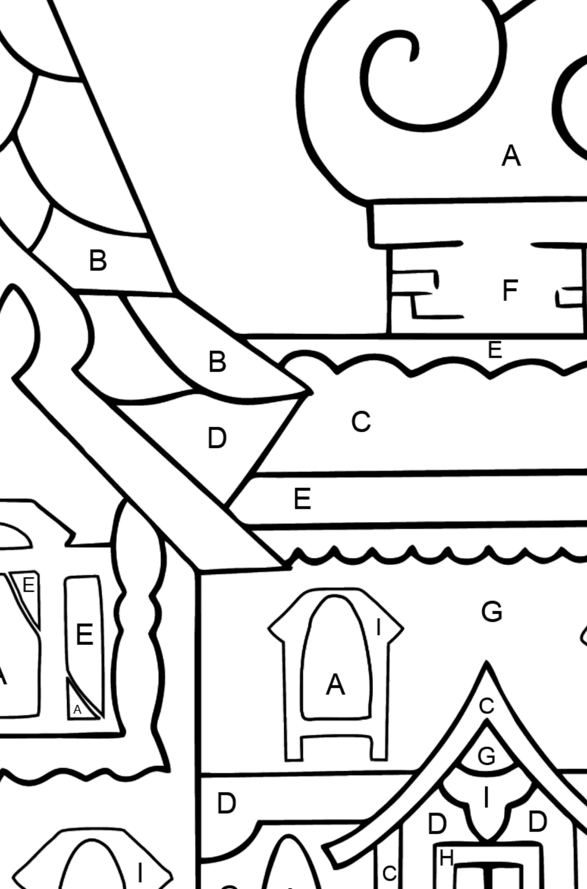 Coloring Page - A House - A Kingdom of Storytellers - Coloring by Letters for Kids