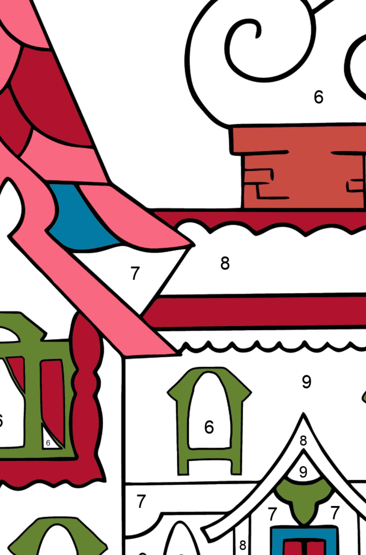 Раскраска дом - королевство сказочников - Раскраска по Номерам для Детей