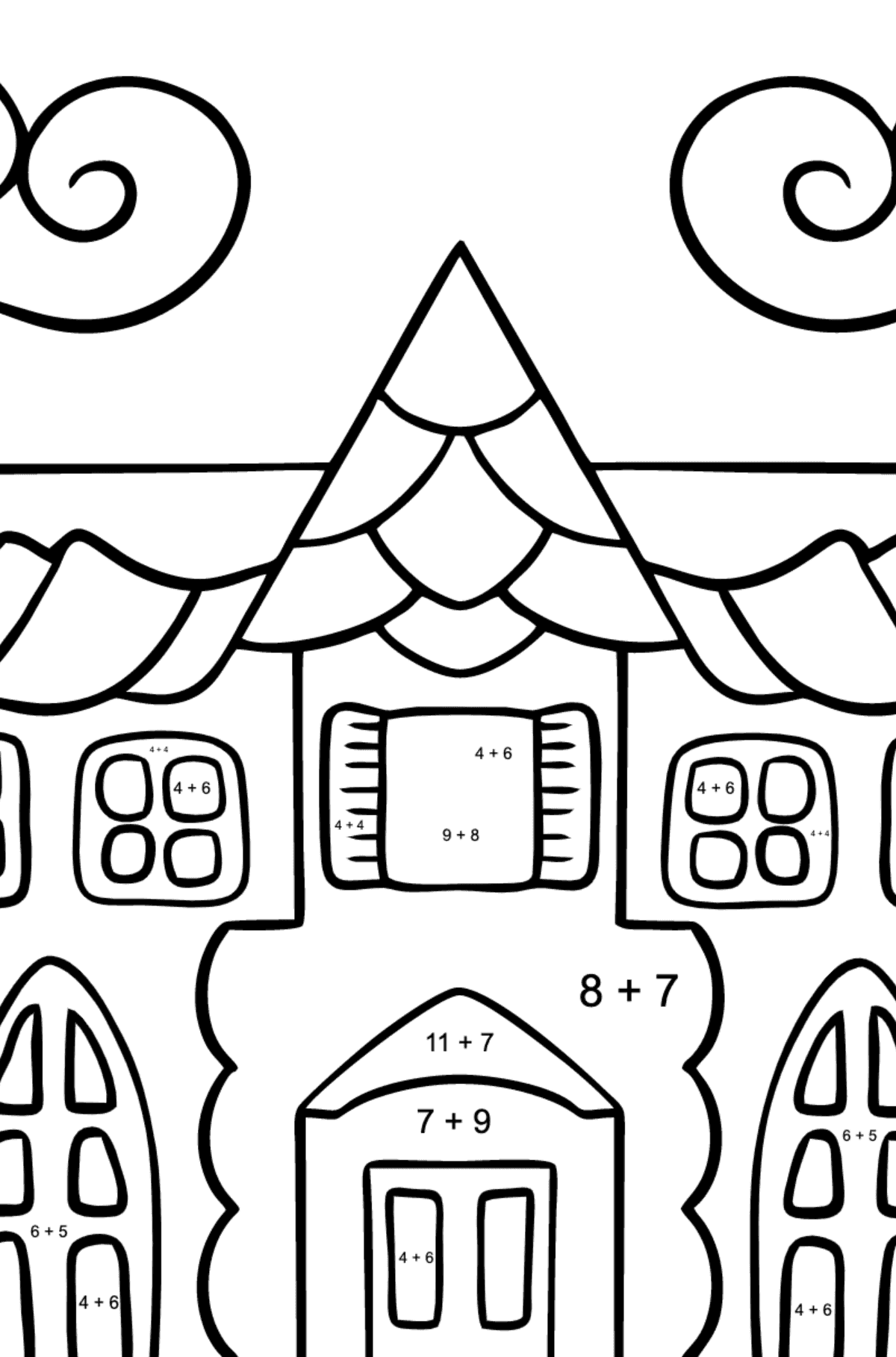 Coloring Page - A House in an Enchanted Kingdom for Kids  - Color by Number Addition