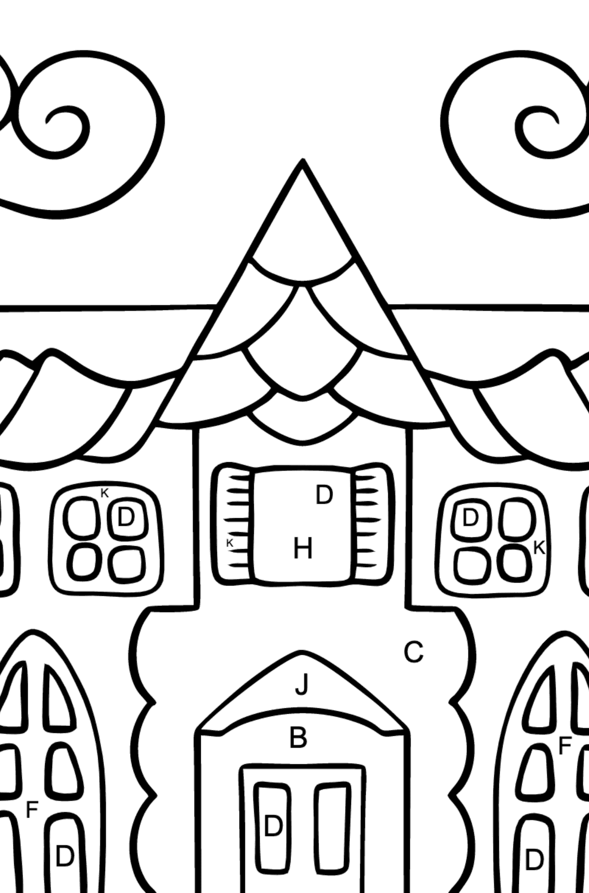 Coloring Page - A House in an Enchanted Kingdom for Children  - Color by Letters