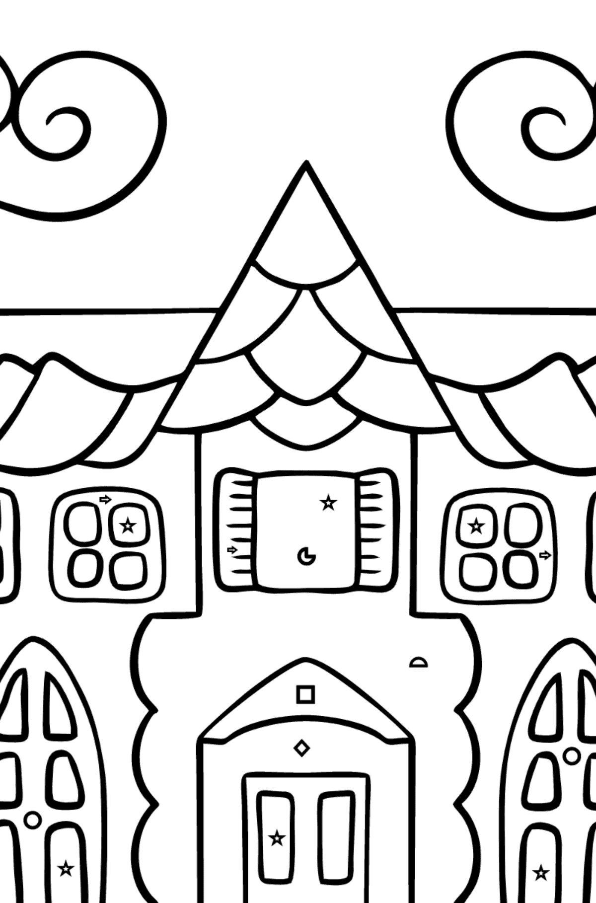 Coloring Page - A House in an Enchanted Kingdom for Kids  - Color by Geometric Shapes