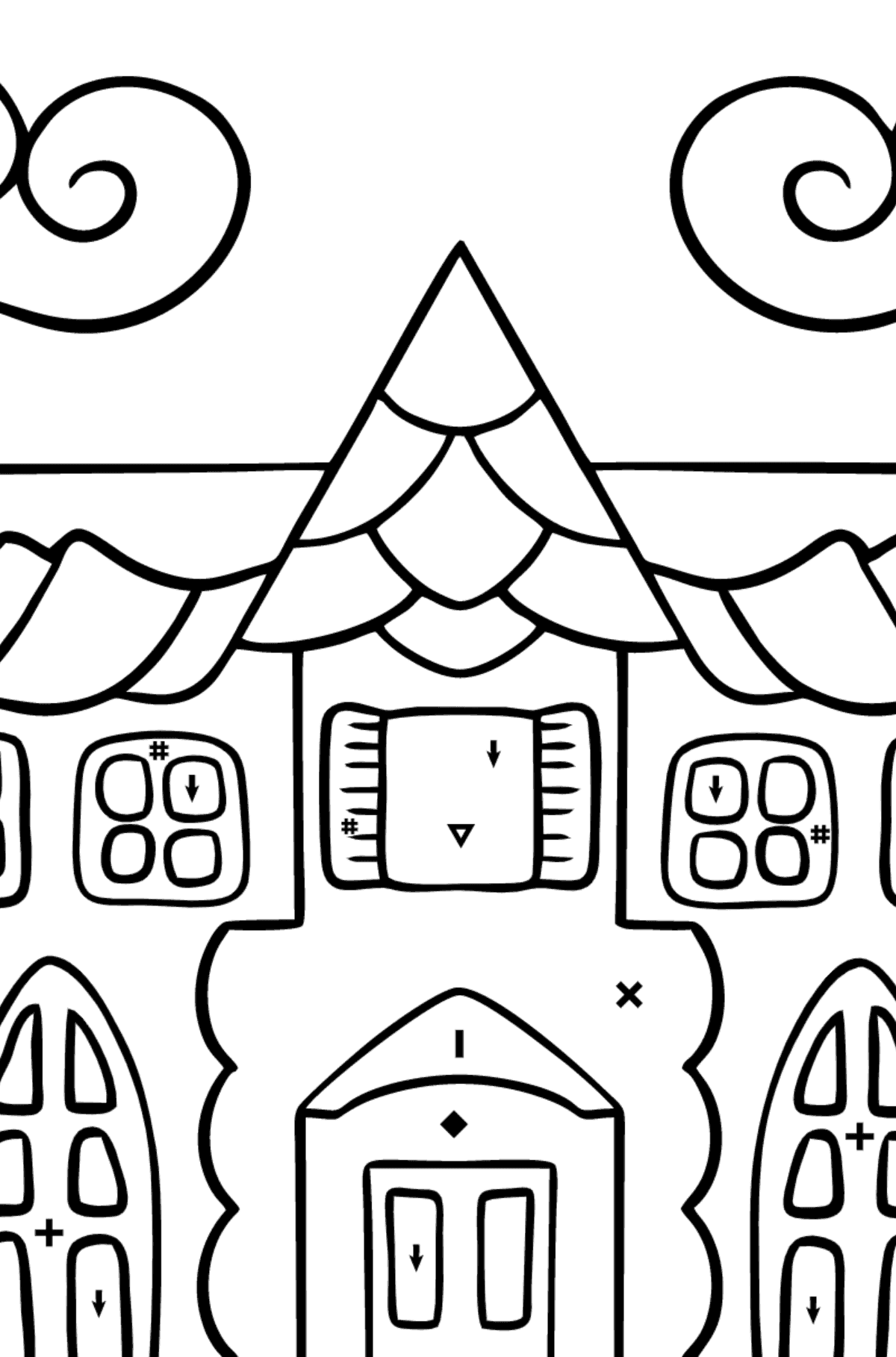 Coloring Page - A House in an Enchanted Kingdom for Children  - Color by Special Symbols