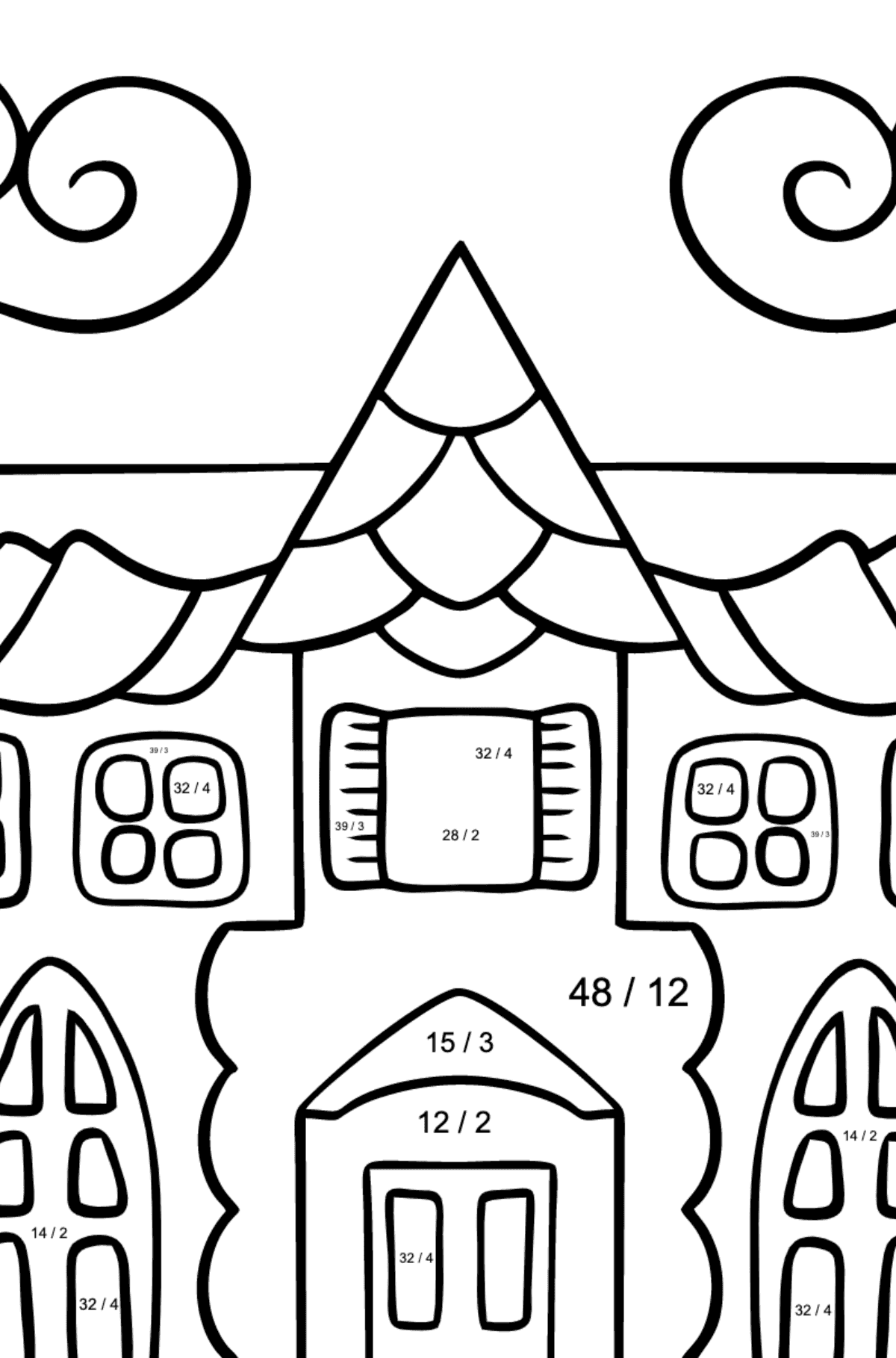Coloring Page - A House in an Enchanted Kingdom for Children  - Color by Number Division