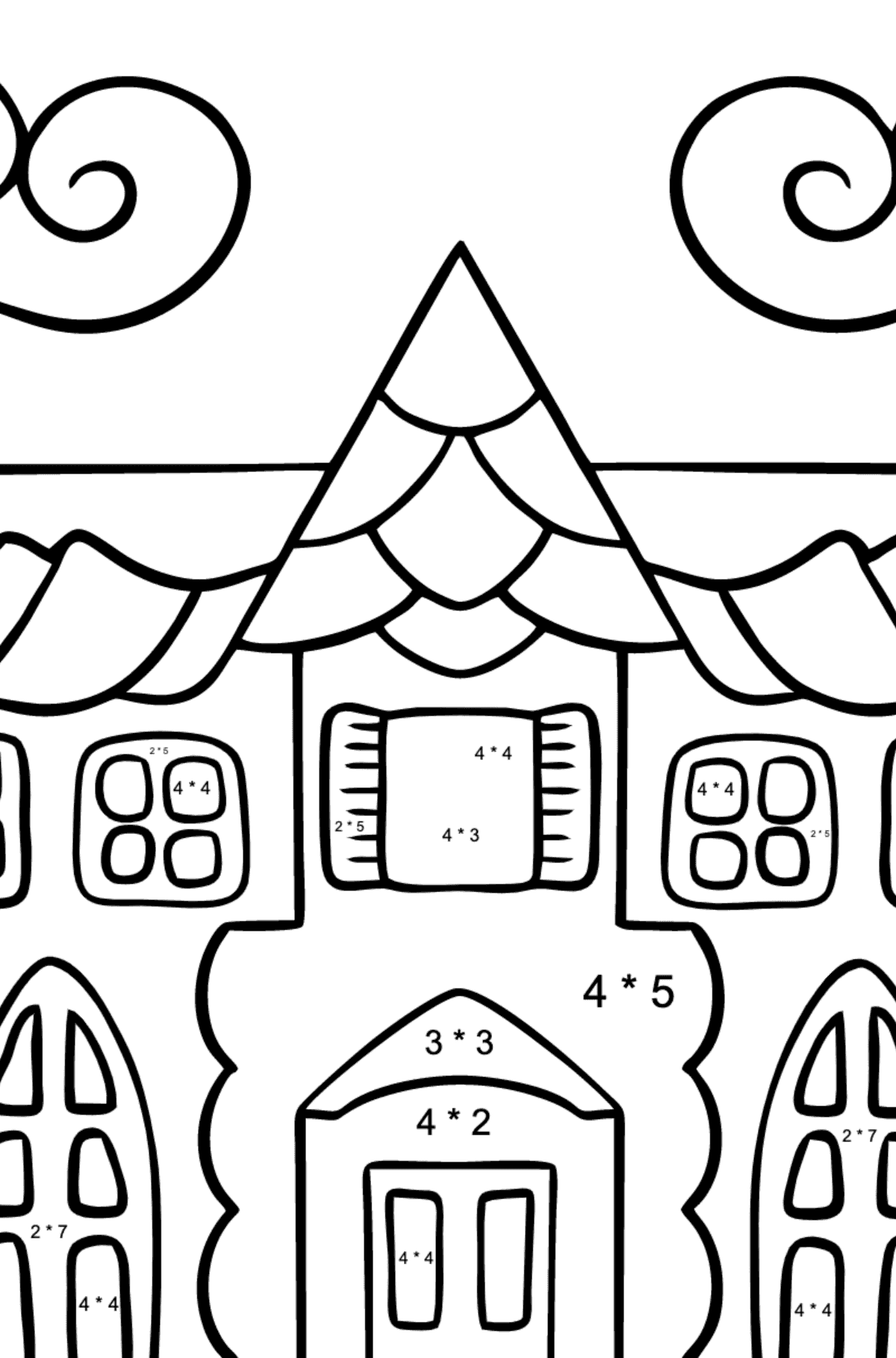 Coloring Page - A House in an Enchanted Kingdom for Kids  - Color by Number Multiplication