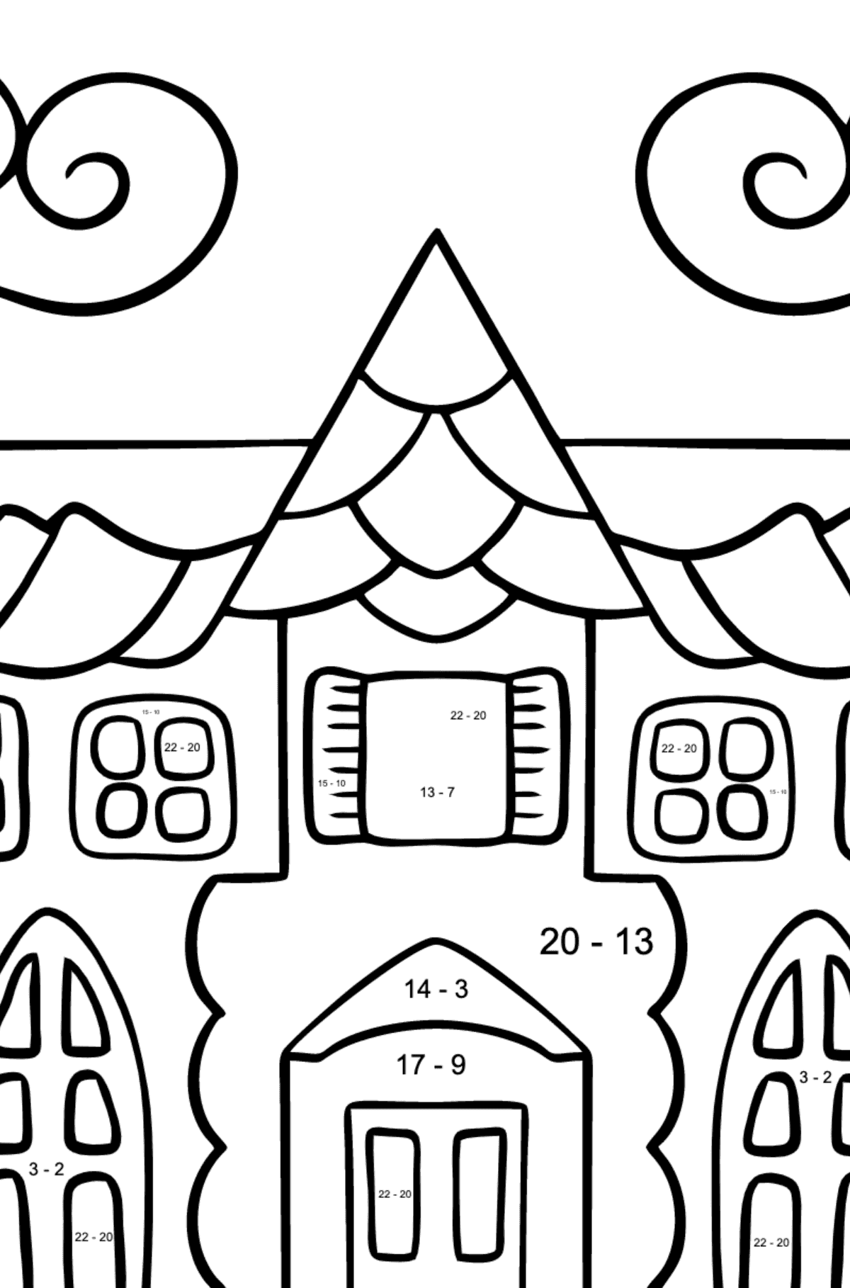 Coloring Page - A House in an Enchanted Kingdom for Children  - Color by Number Substraction