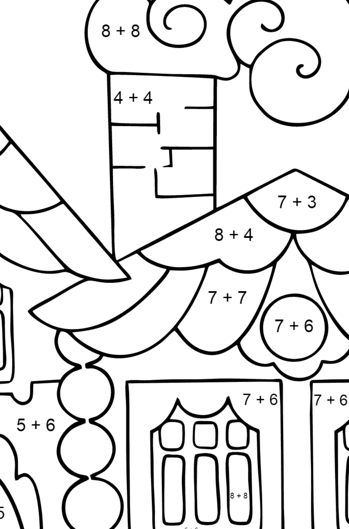 Coloring Page - A House in the Forest for Kids  - Color by Number Addition