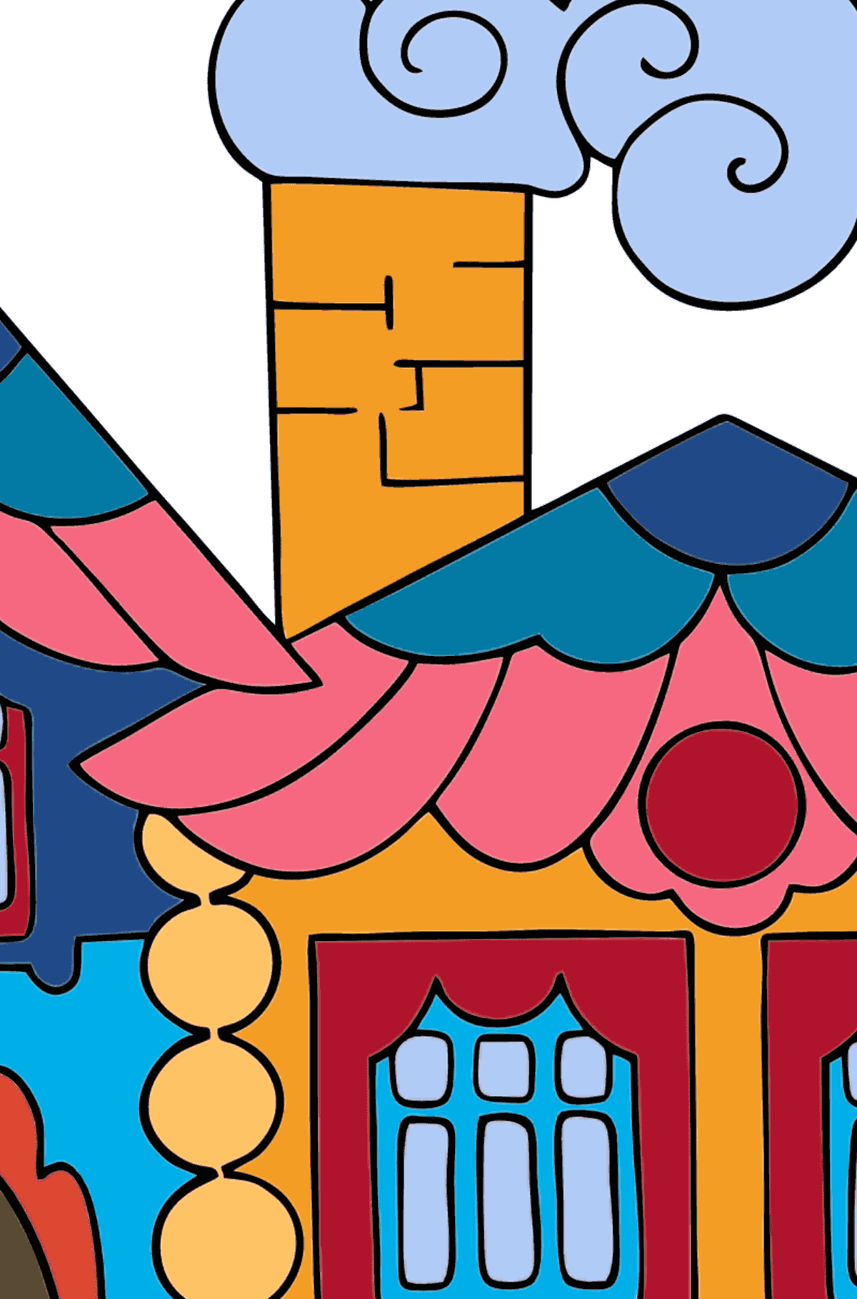 Coloring Page - A House in the Forest for Kids  - Color by Letters
