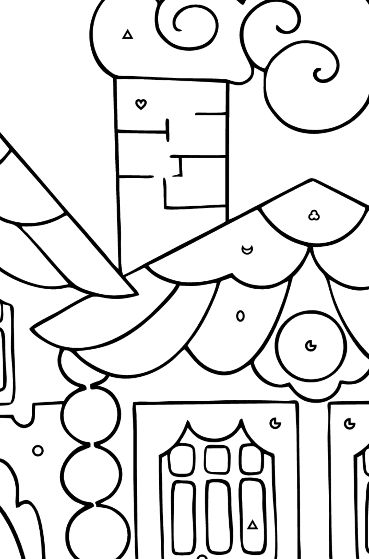 Coloring Page - A House in the Forest for Children  - Color by Geometric Shapes