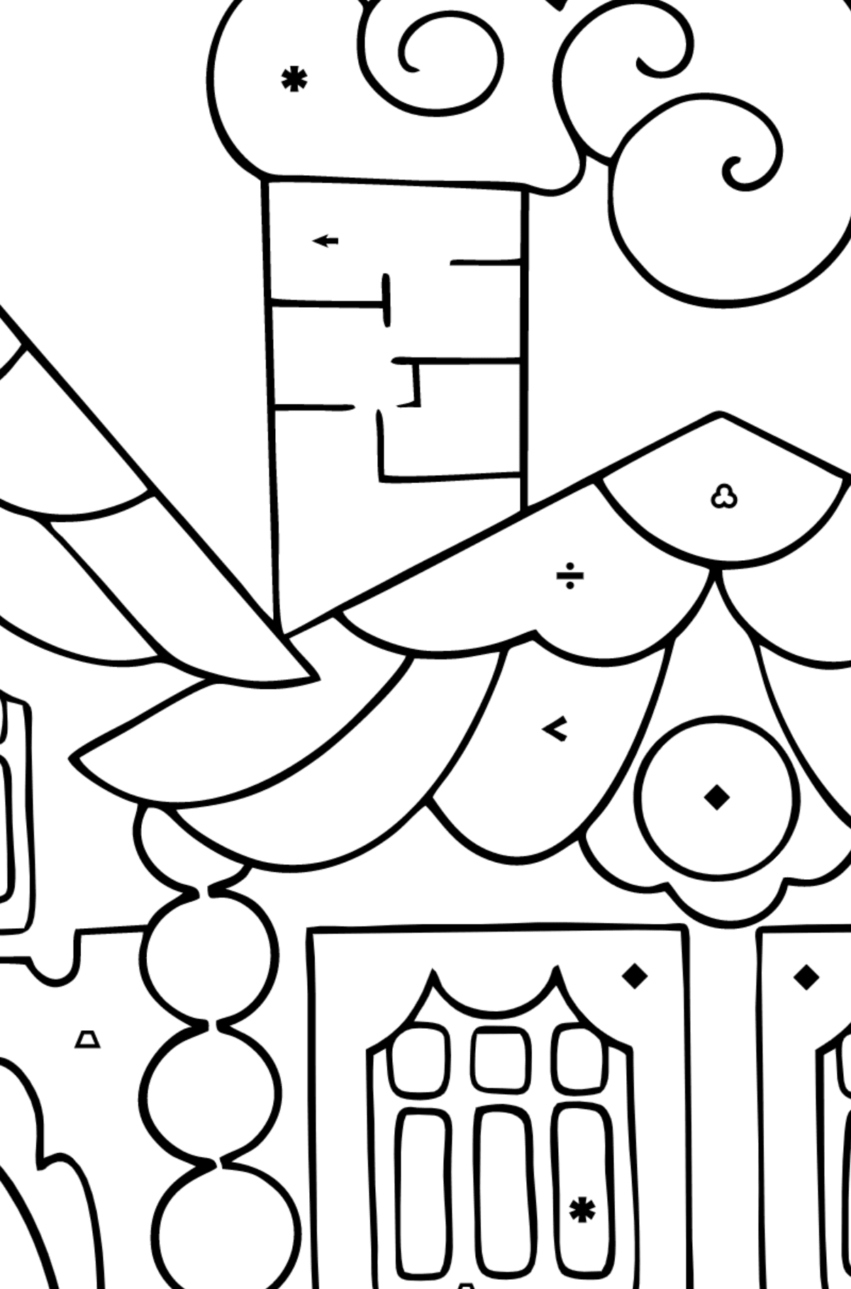 Coloring Page - A House in the Forest for Children  - Color by Symbols and Geometric Shapes