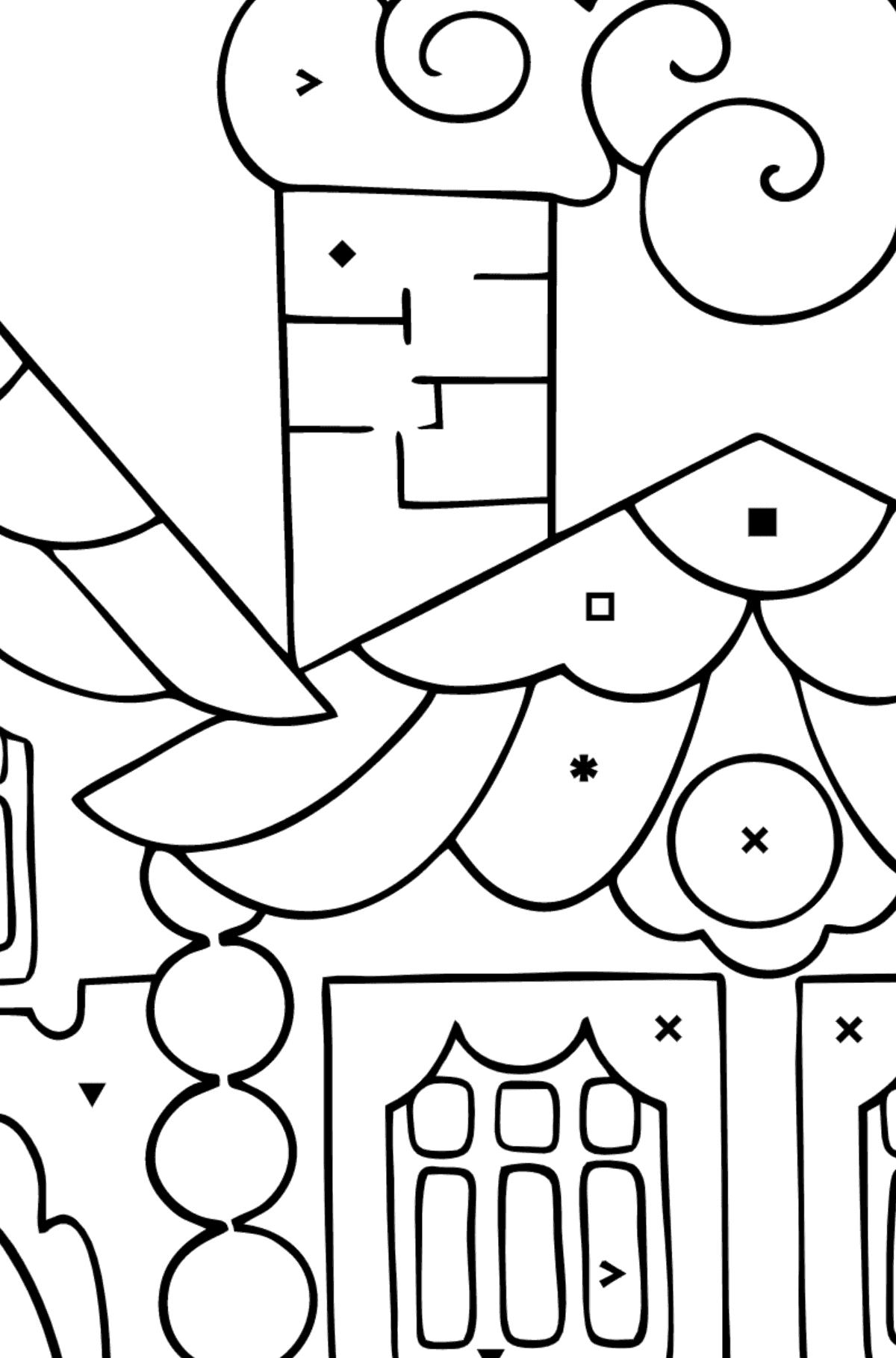 Coloring Page - A House in the Forest for Children  - Color by Special Symbols