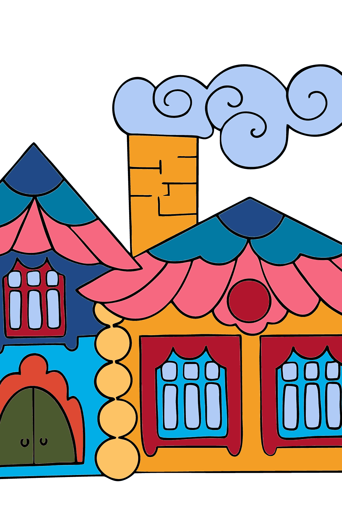 Coloring Page - A House in the Forest for Children