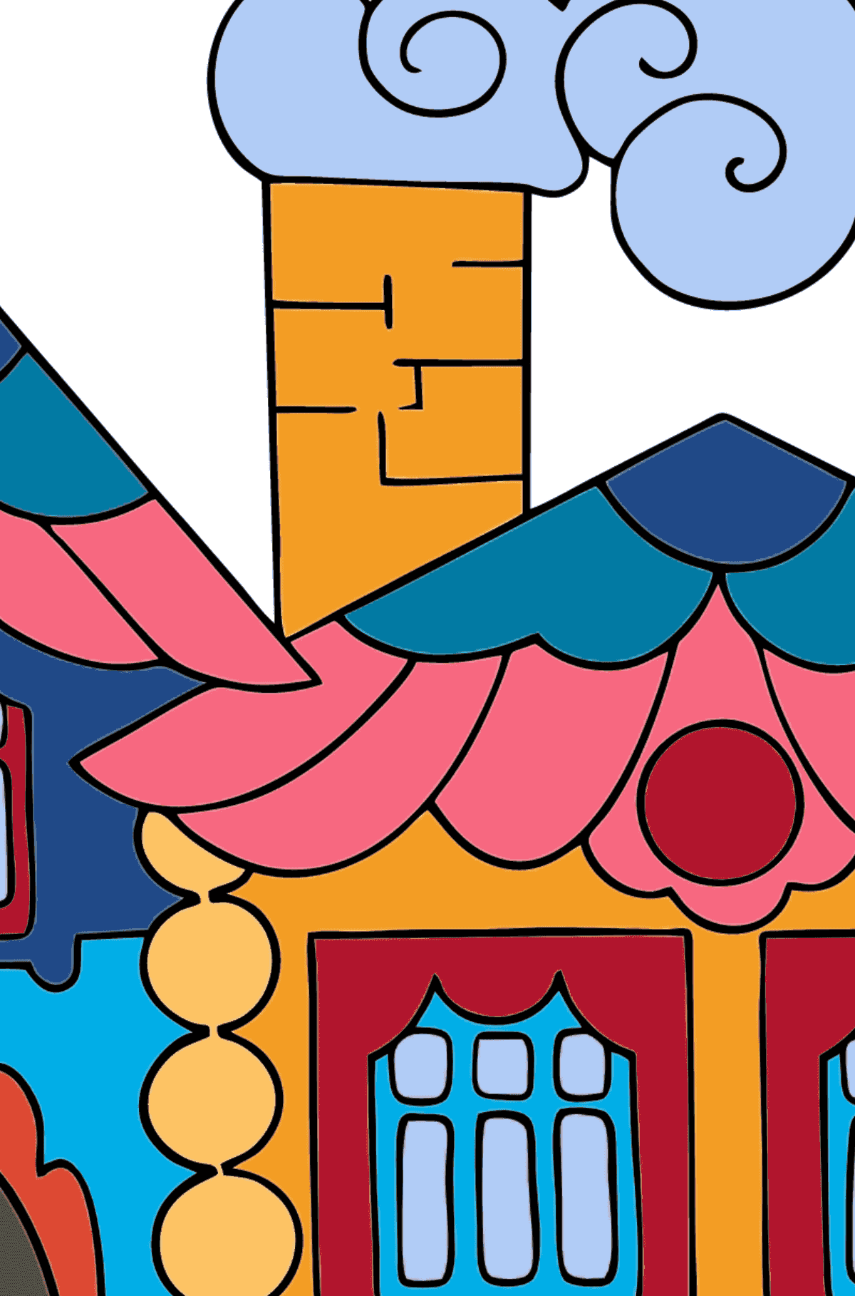 Coloring Page - A House in the Forest for Kids  - Color by Number Substraction