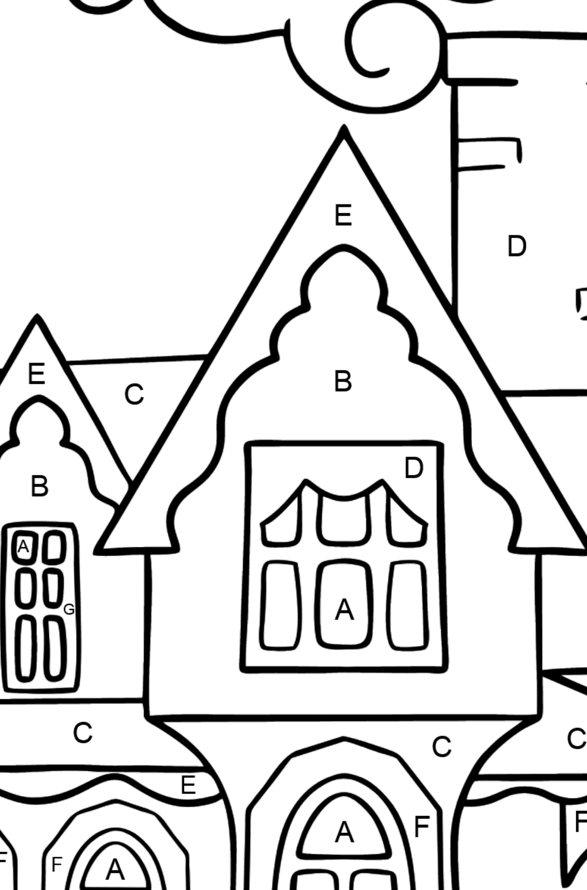 Coloring Page - A Miraculous House - Coloring by Letters for Kids