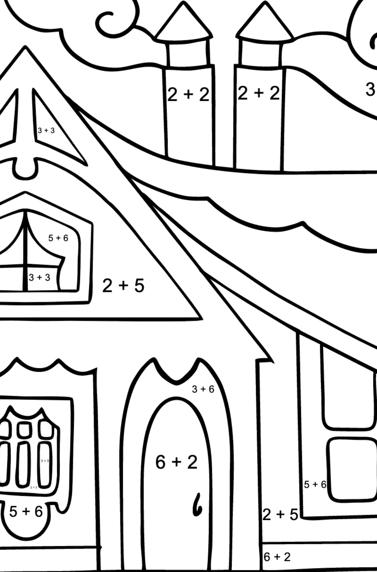 Coloring Page - A Tiny House - Math Coloring - Addition for Children