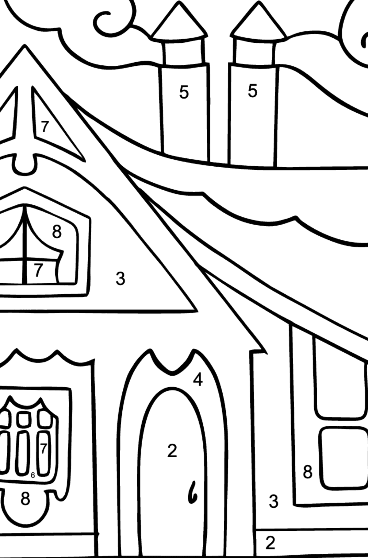 Coloring Page - A Tiny House - Coloring by Numbers for Children