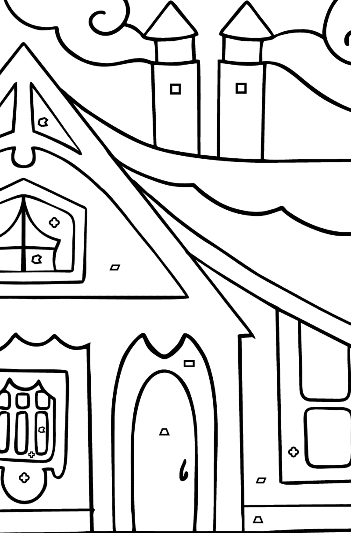 Coloring Page - A Tiny House - Coloring by Geometric Shapes for Children