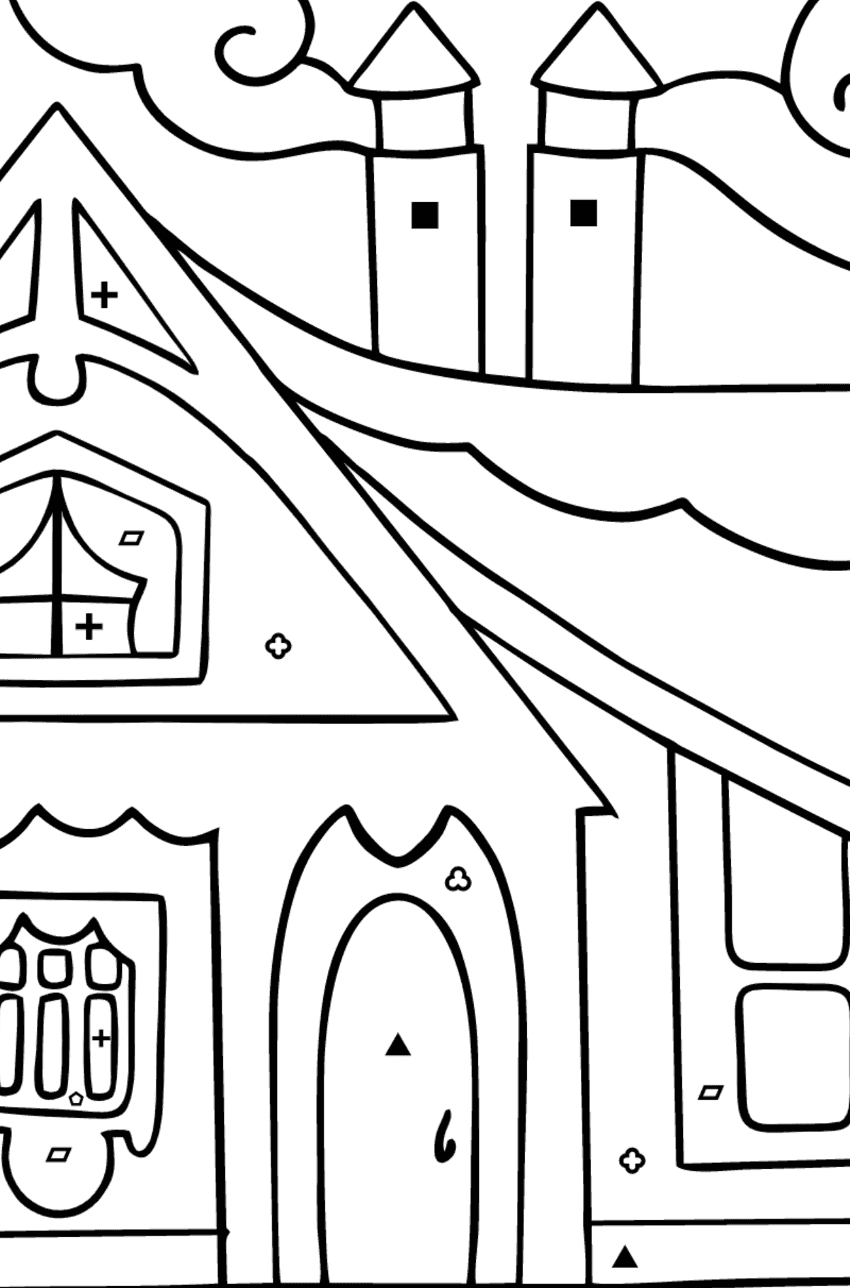 Coloring Page - A Tiny House - Coloring by Symbols and Geometric Shapes for Children